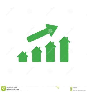 Green Bar Chart Business Growth With Rising Up Arrow RoyaltyFree Stock Photo | CartoonDealer