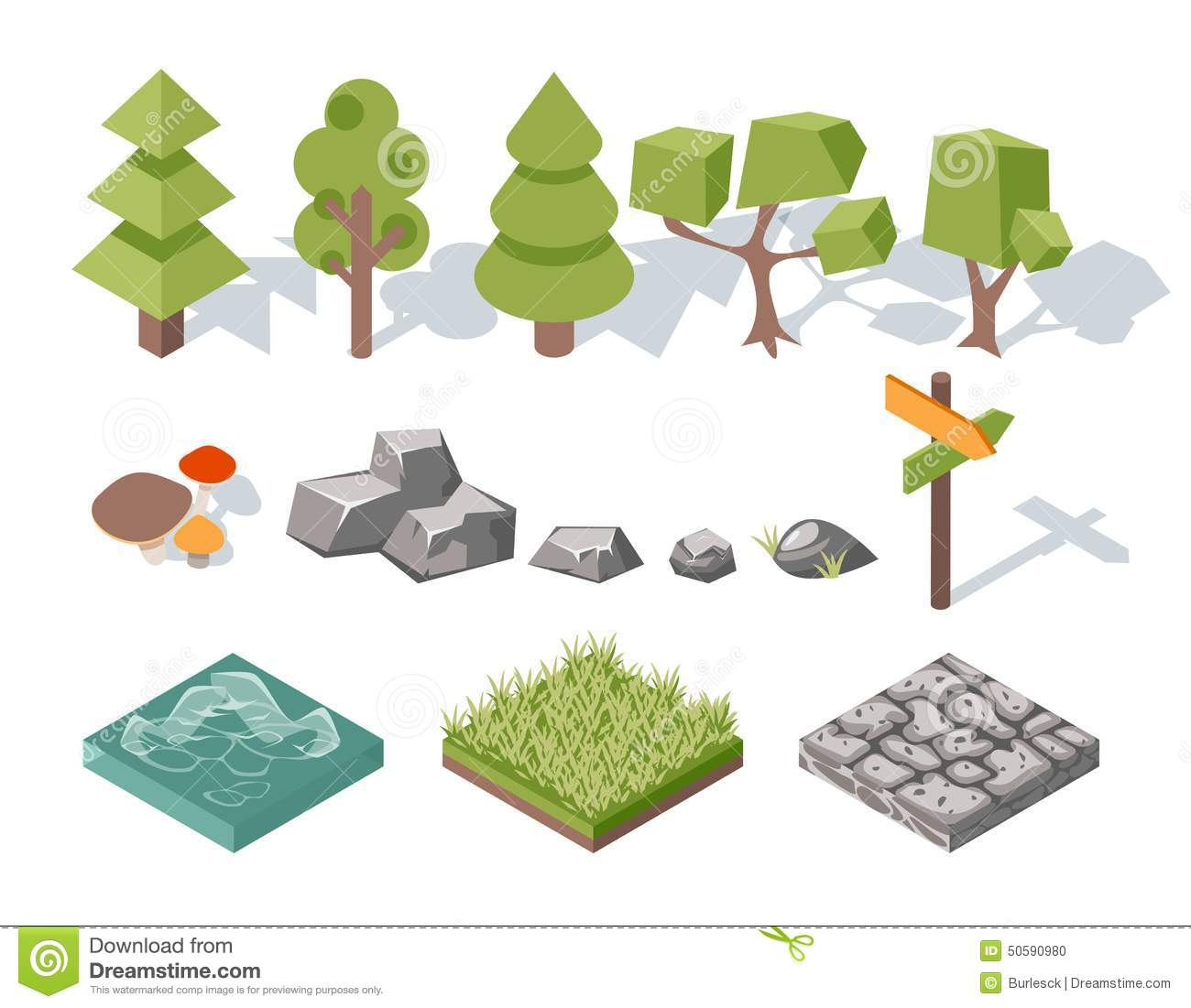 Flat Elements Of Nature Trees Bushes Rocks Stock Vector