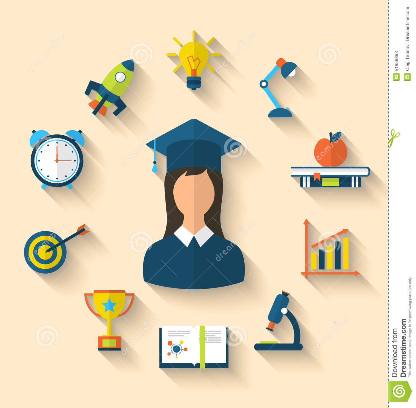 Flat Icons Of Graduation And Objects For High School And