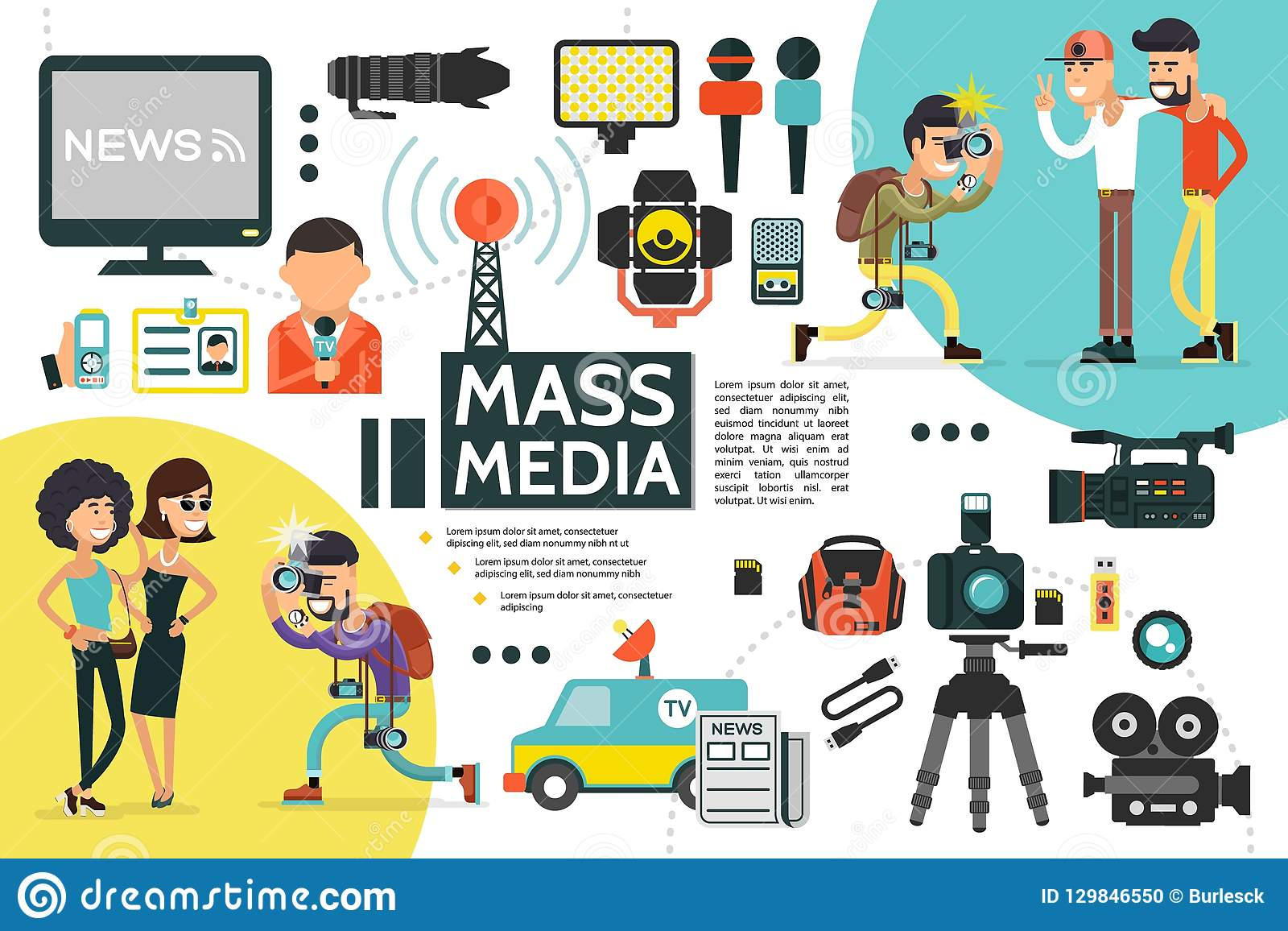 Flat Mass Media Infographic Template Stock Vector