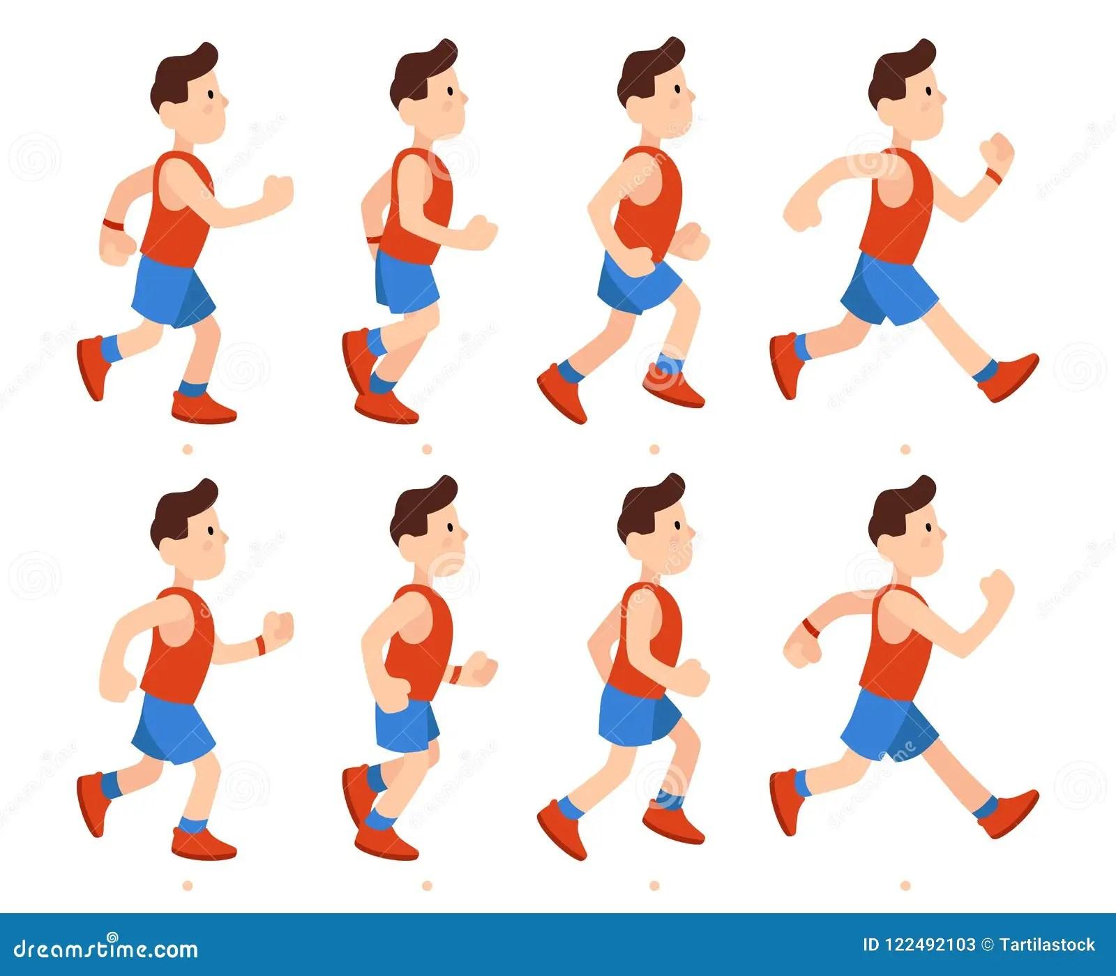 Flat Running Man Athletic Boy Run Animation Frames