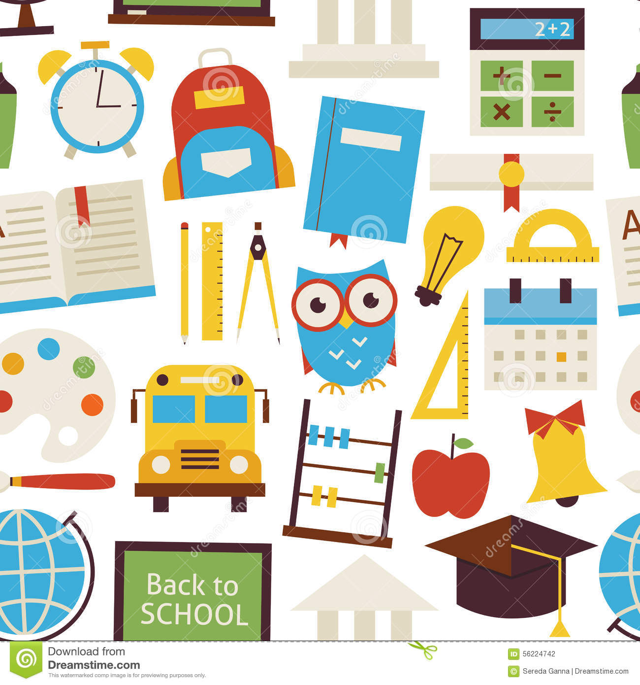 Flat Seamless Pattern Back To School Objects Over White
