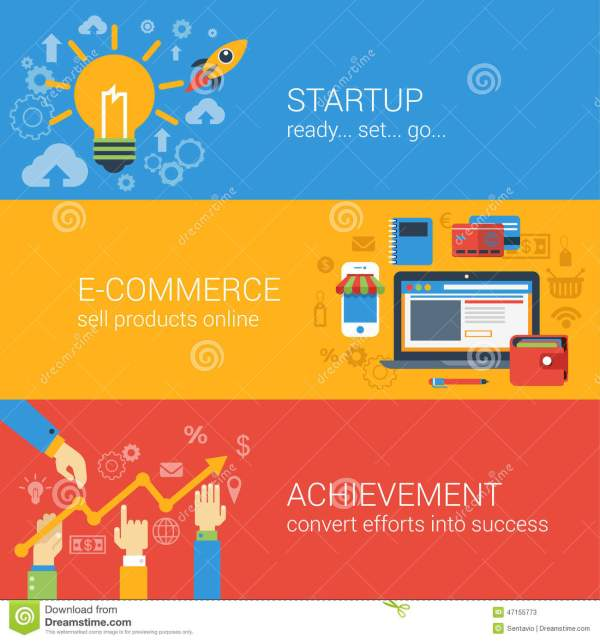 Flat Style E-commerce Business Startup Infographic Concept ...