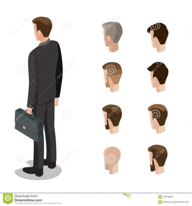 flat style isometric hairstyle head face types of man
