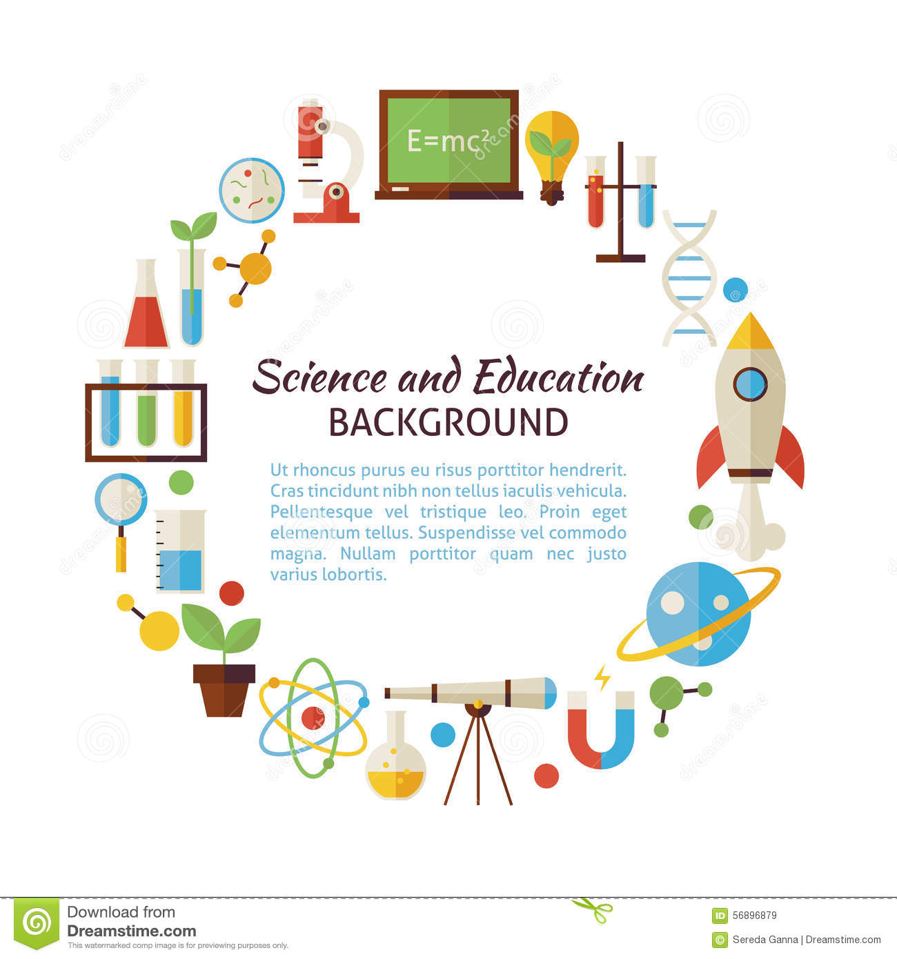 Flat Style Vector Circle Template Collection Of Science