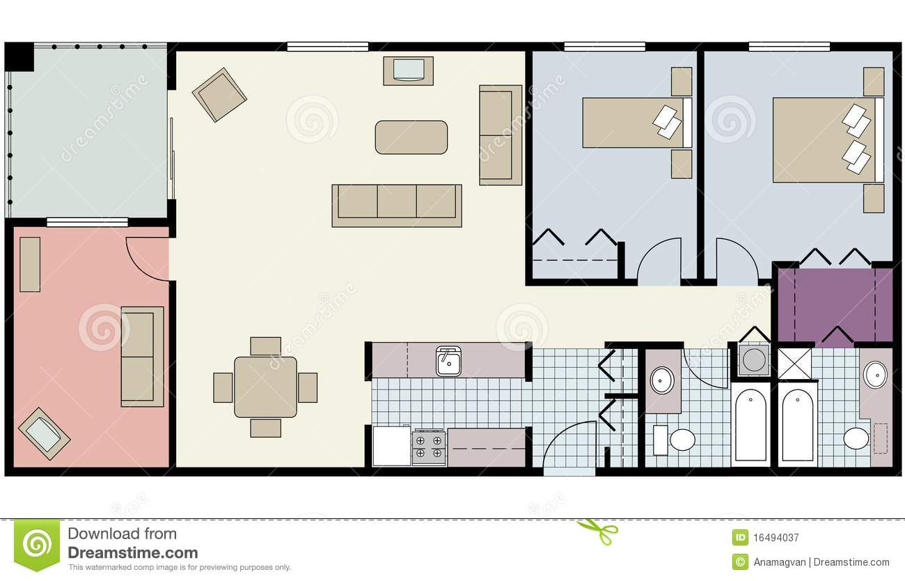Floor Plan Of Two Bed Condo With Den Furniture Stock
