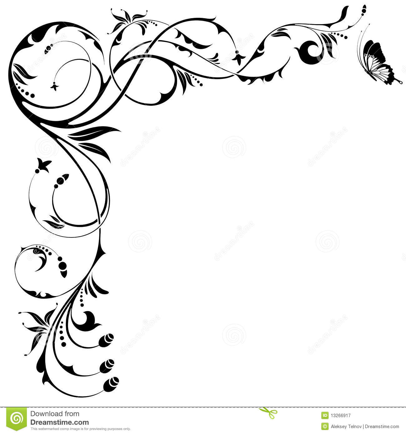 Floral Border Stock Vector Illustration Of Butterfly