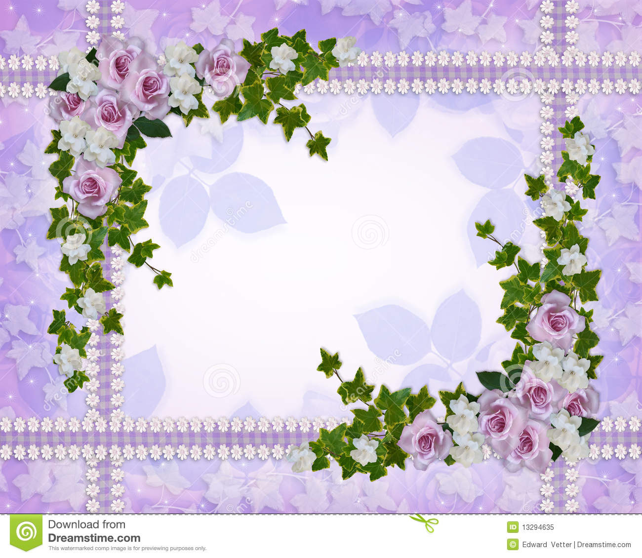 Floral Border Roses And Gardenias Stock Illustration