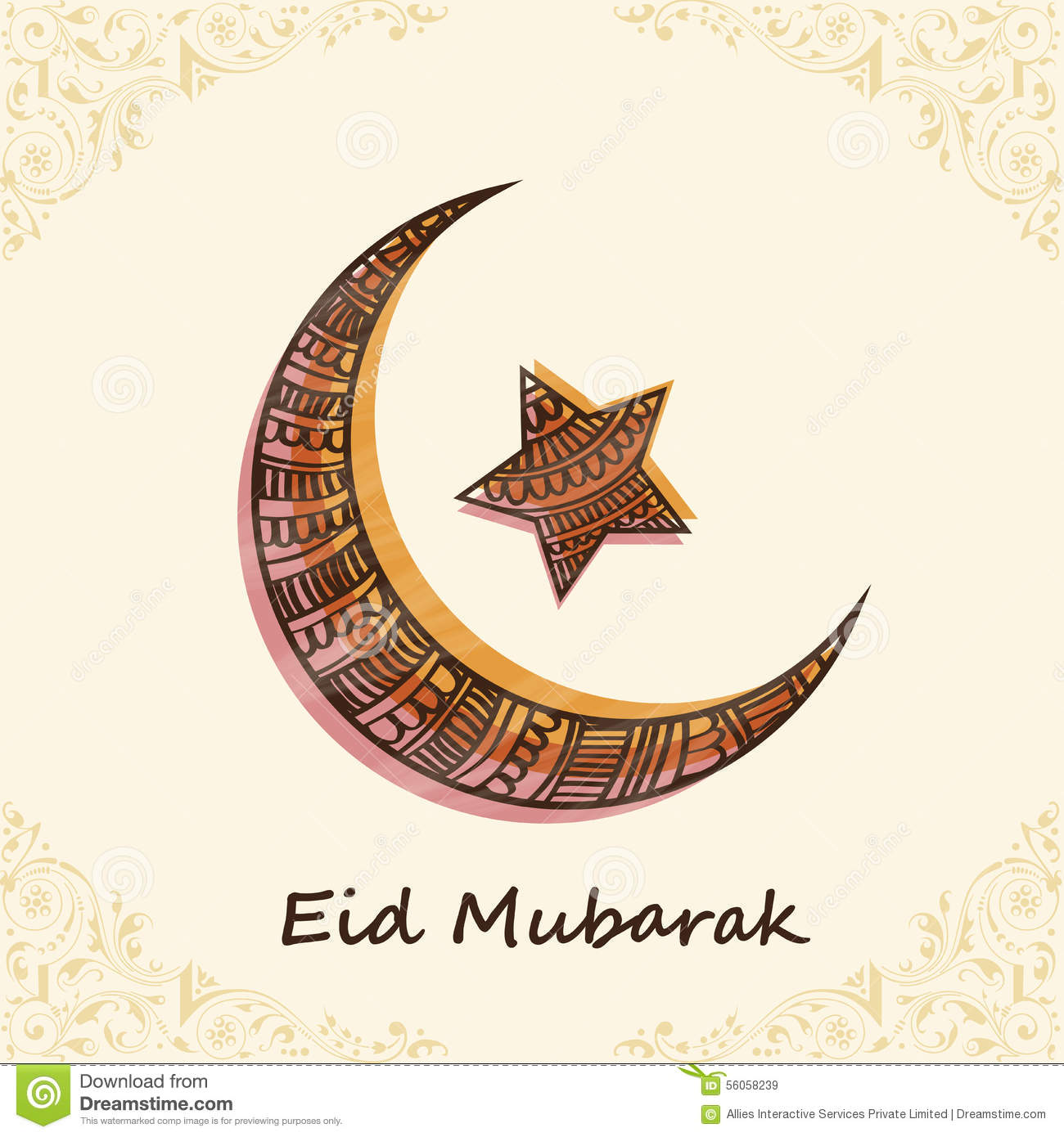 Floral Decorated Moon And Star For Eid Mubarak Celebration