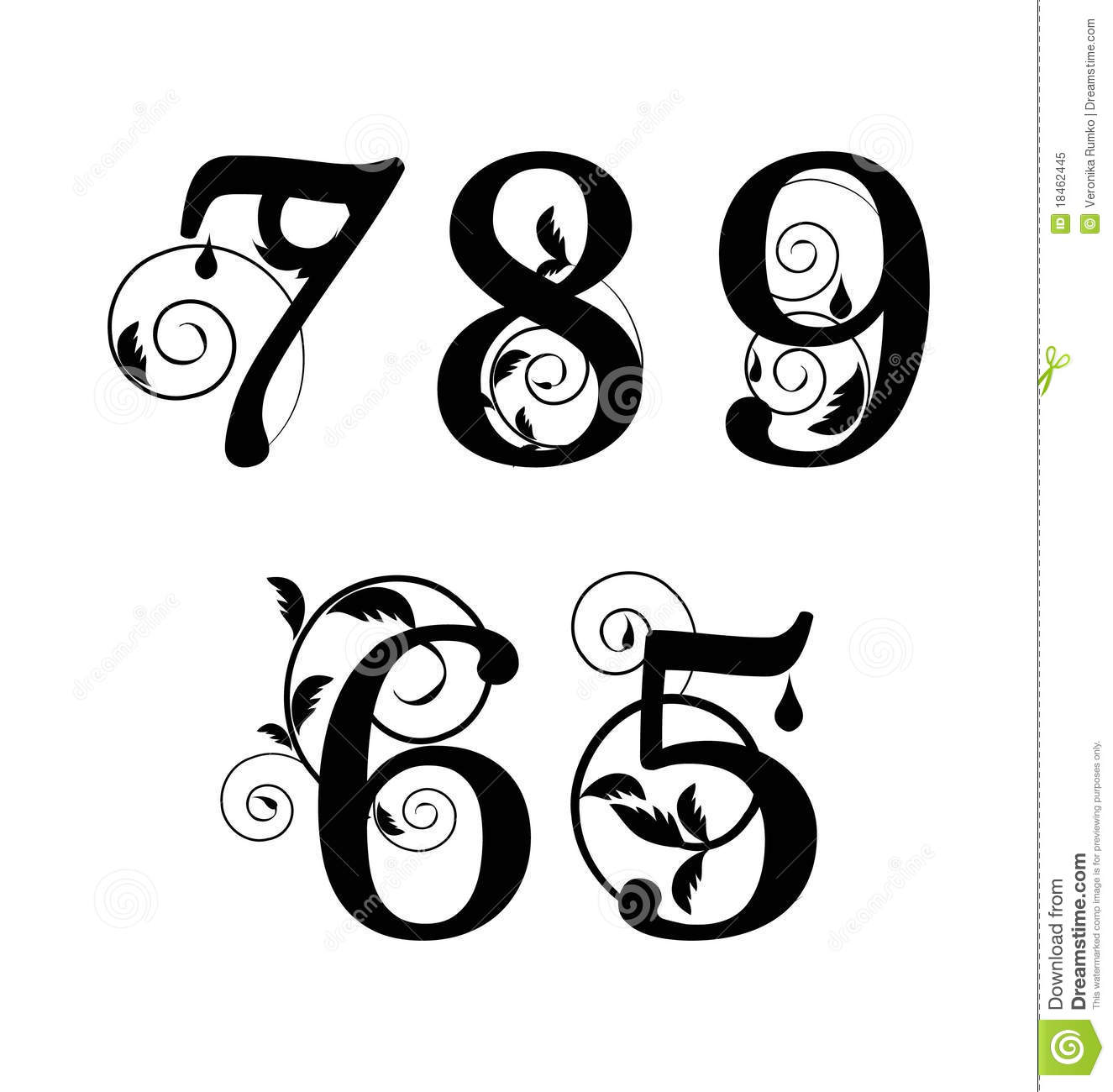 Floral Font Numbers From 5till 9 Stock Vector