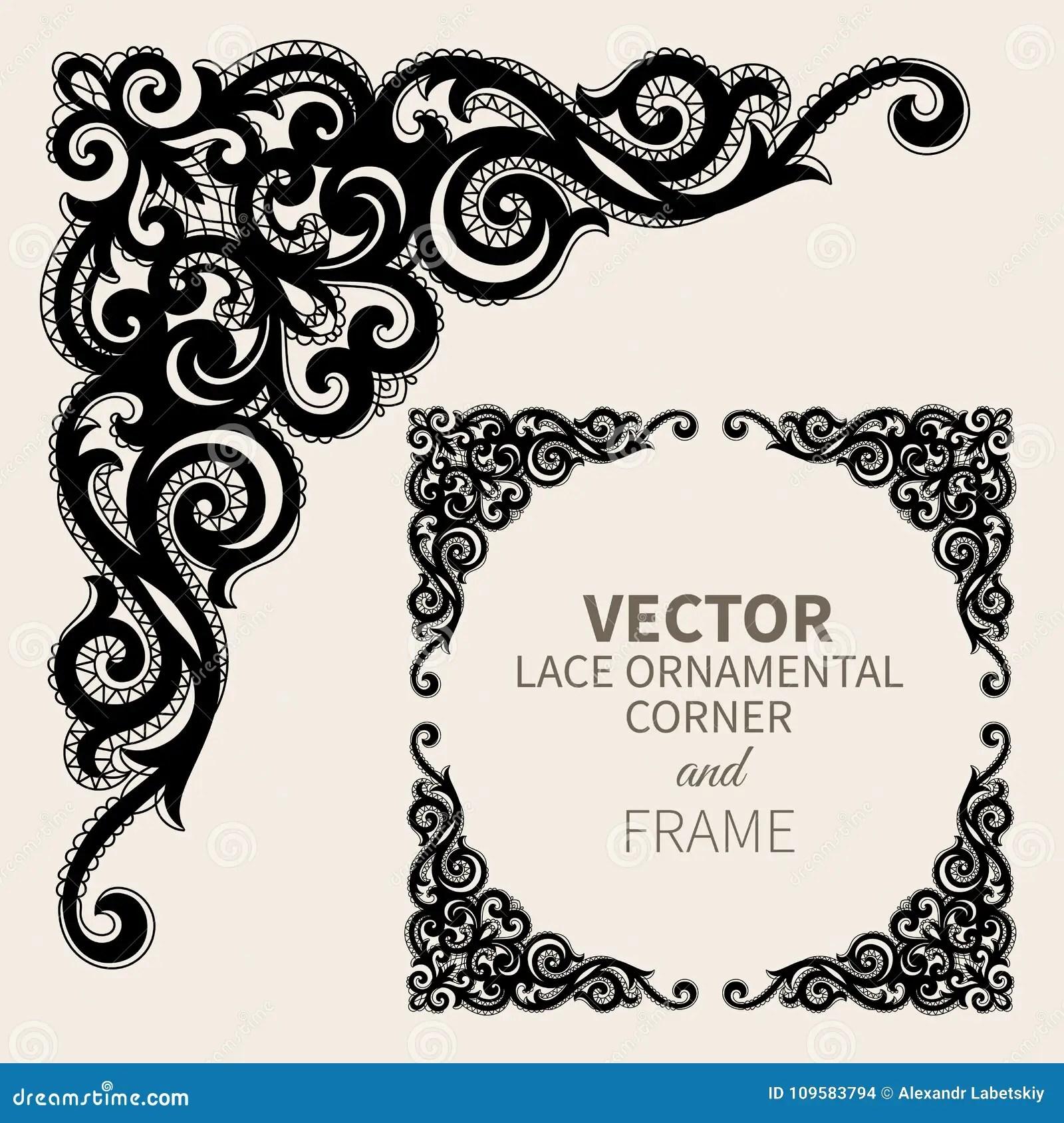 https www dreamstime com floral frame border decorative lace design element fancy page ornament vector illustration vector ornamental corner frame image109583794