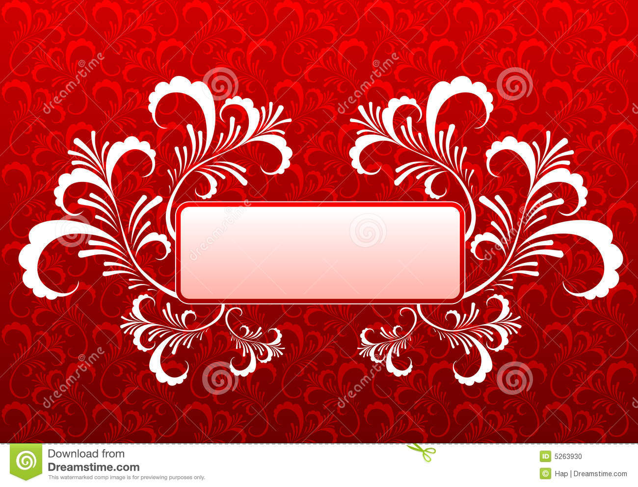 Floral Frame On Old Wallpaper Background Stock Photo