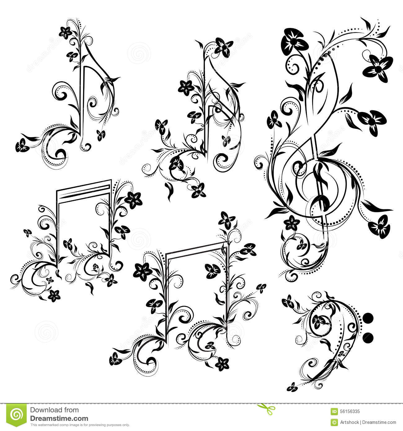Floral Music Notes Stock Vector Illustration Of Quarter
