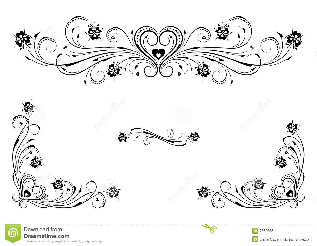 Floral Ornaments Of Heart Stock Vector Illustration Of