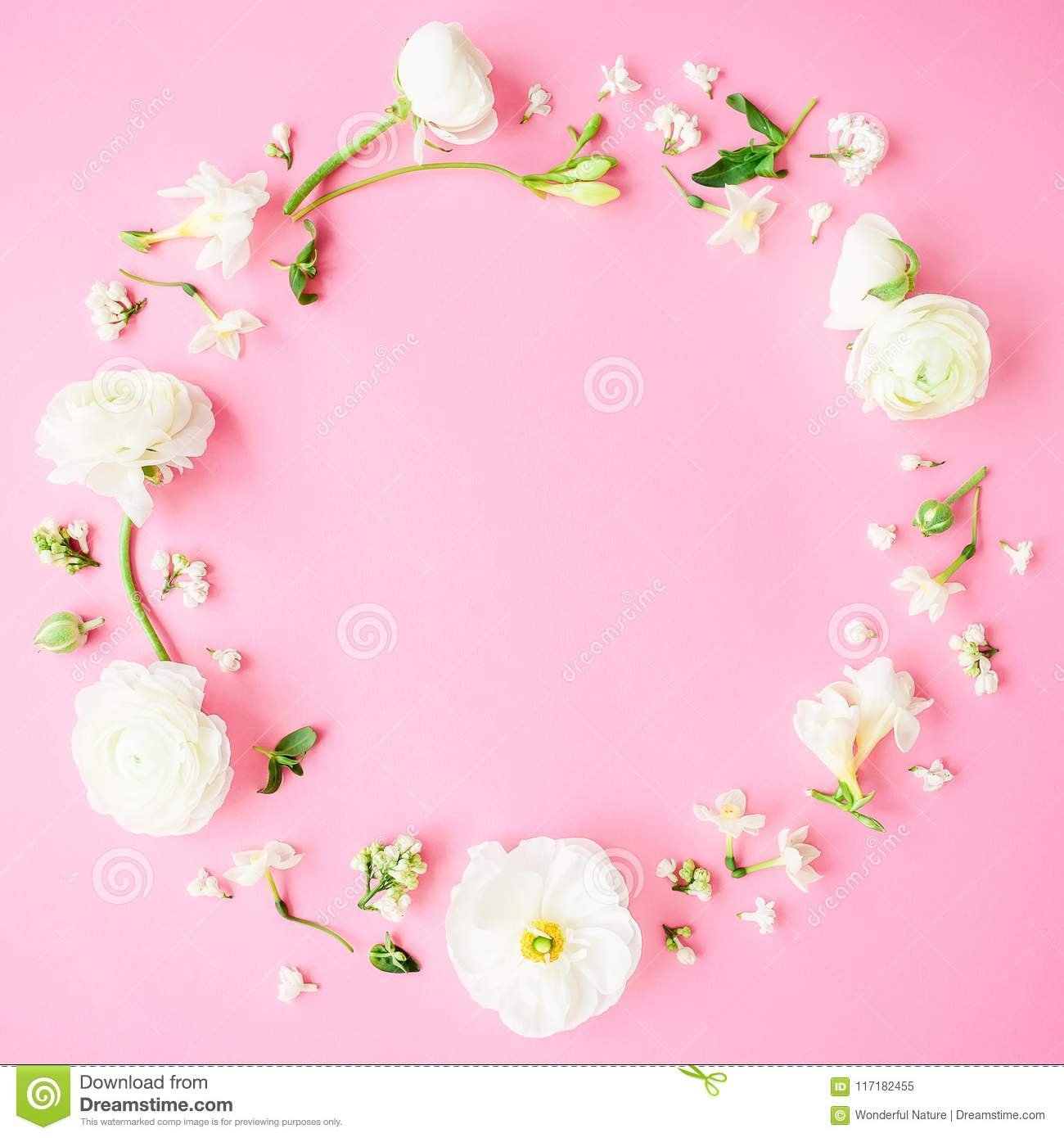 Floral Round Frame Made Of White Flowers Buds And Petals On Pink Background Flat Lay Top View Pastel Background Stock Image Image Of Flowers Decor 117182455
