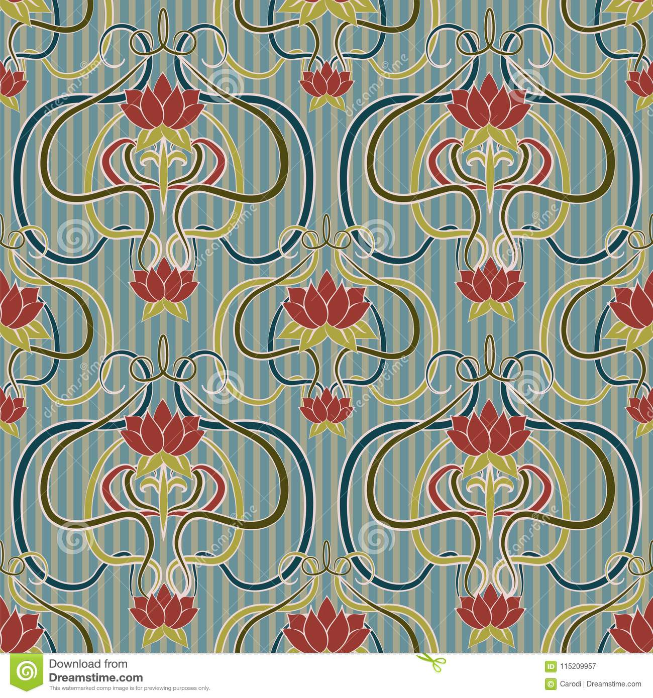Find carta da parati stock images in hd and millions of other. Floral Seamless Wallpaper In Art Nouveau Style Vector Stock Vector Illustration Of Deco Card 115209957