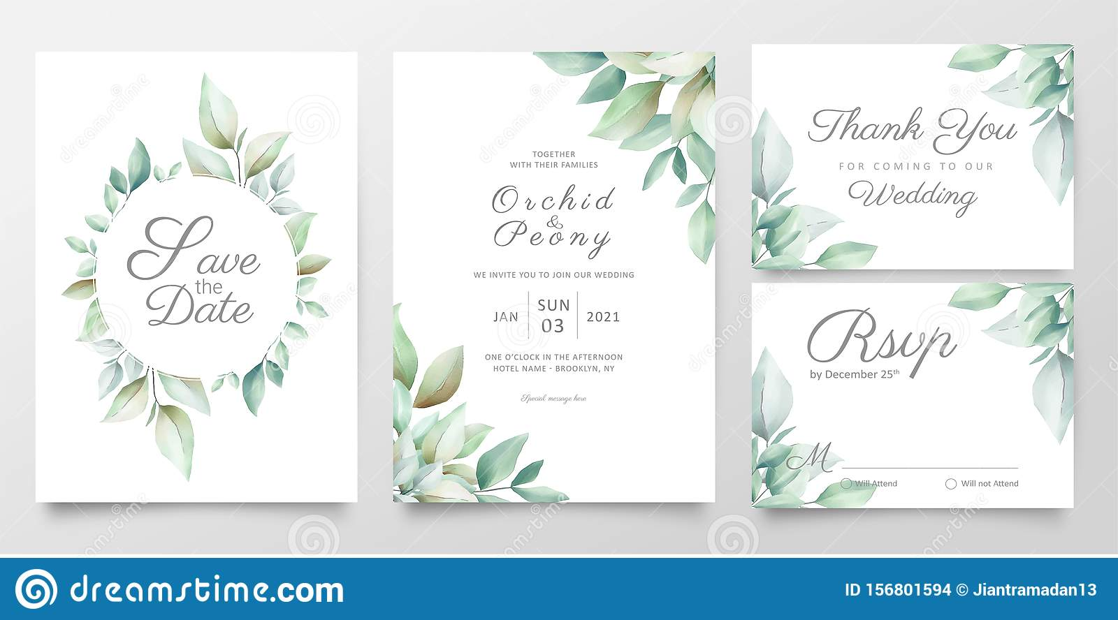 https www dreamstime com floral wedding invitation card template set realistic watercolor leaves elegant greenery save date invite thank you rsvp image156801594