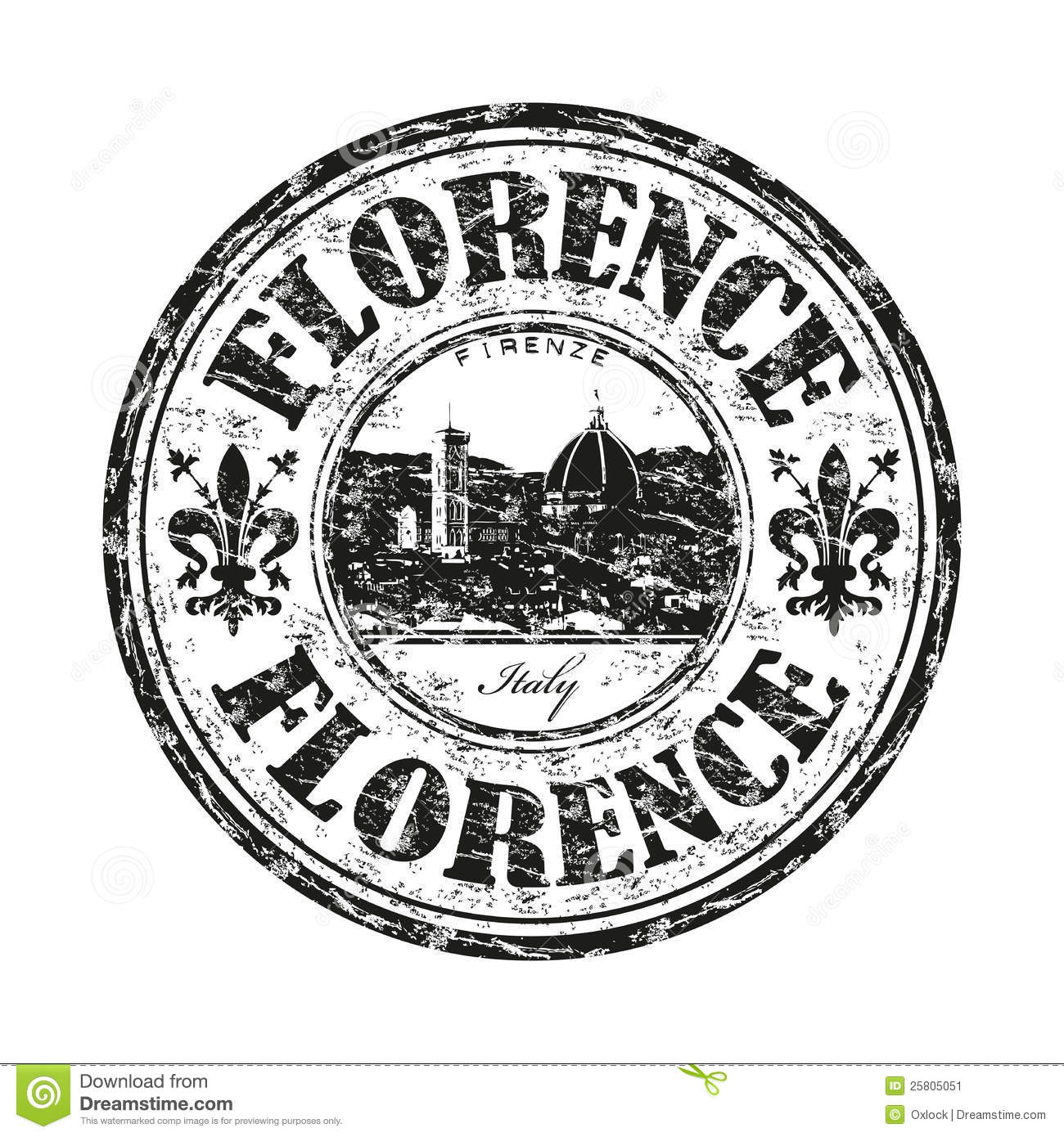 Florence Grunge Rubber Stamp Stock Image