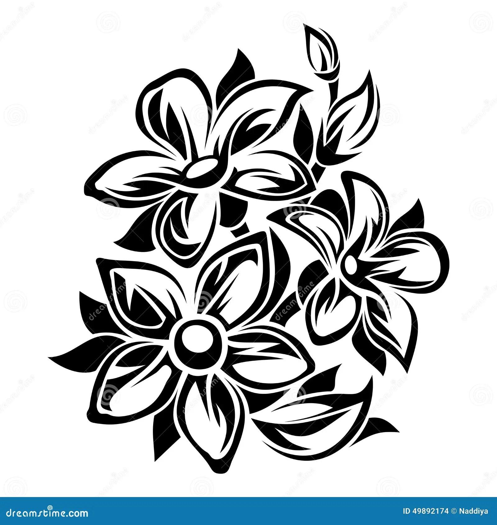 Floresce O Ornamento Preto E Branco Ilustracao Do Vetor
