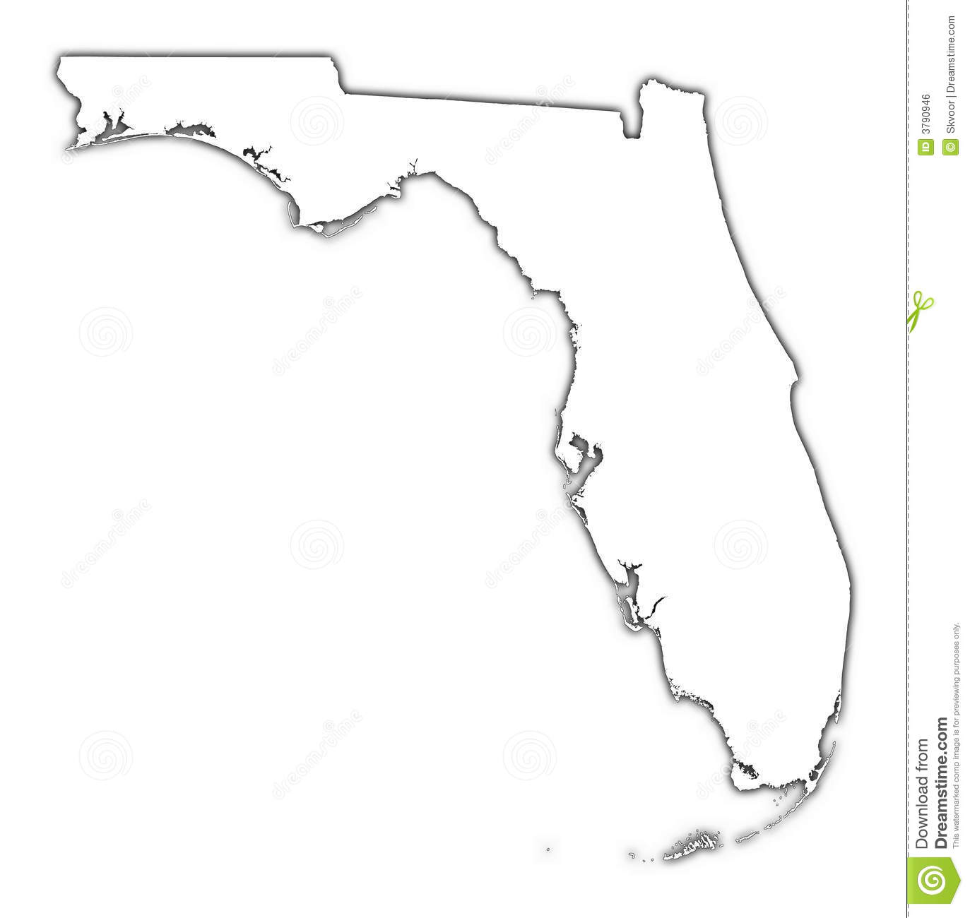 Florida Outline Map With Shadow Stock Illustration