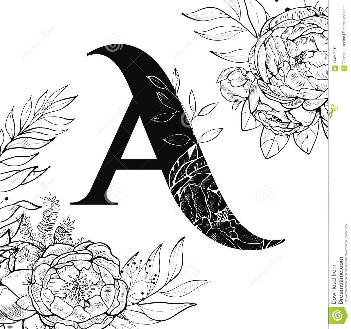 Flower Alphabet Letter A Pattern Stock Vector