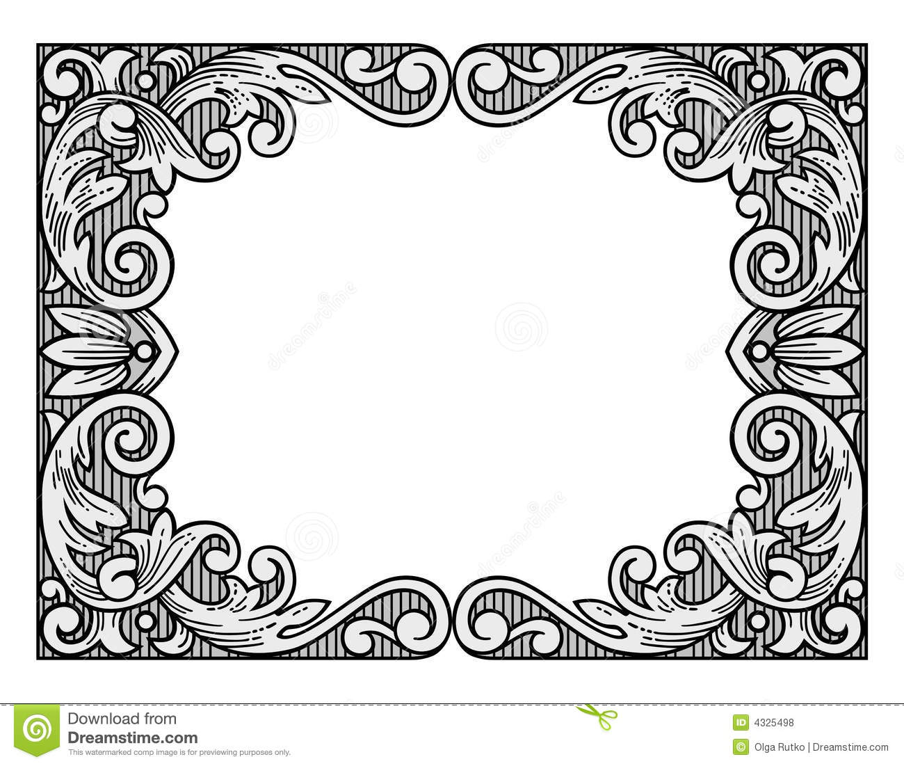 Flower Engraving Frame Stock Vector Illustration Of Retro