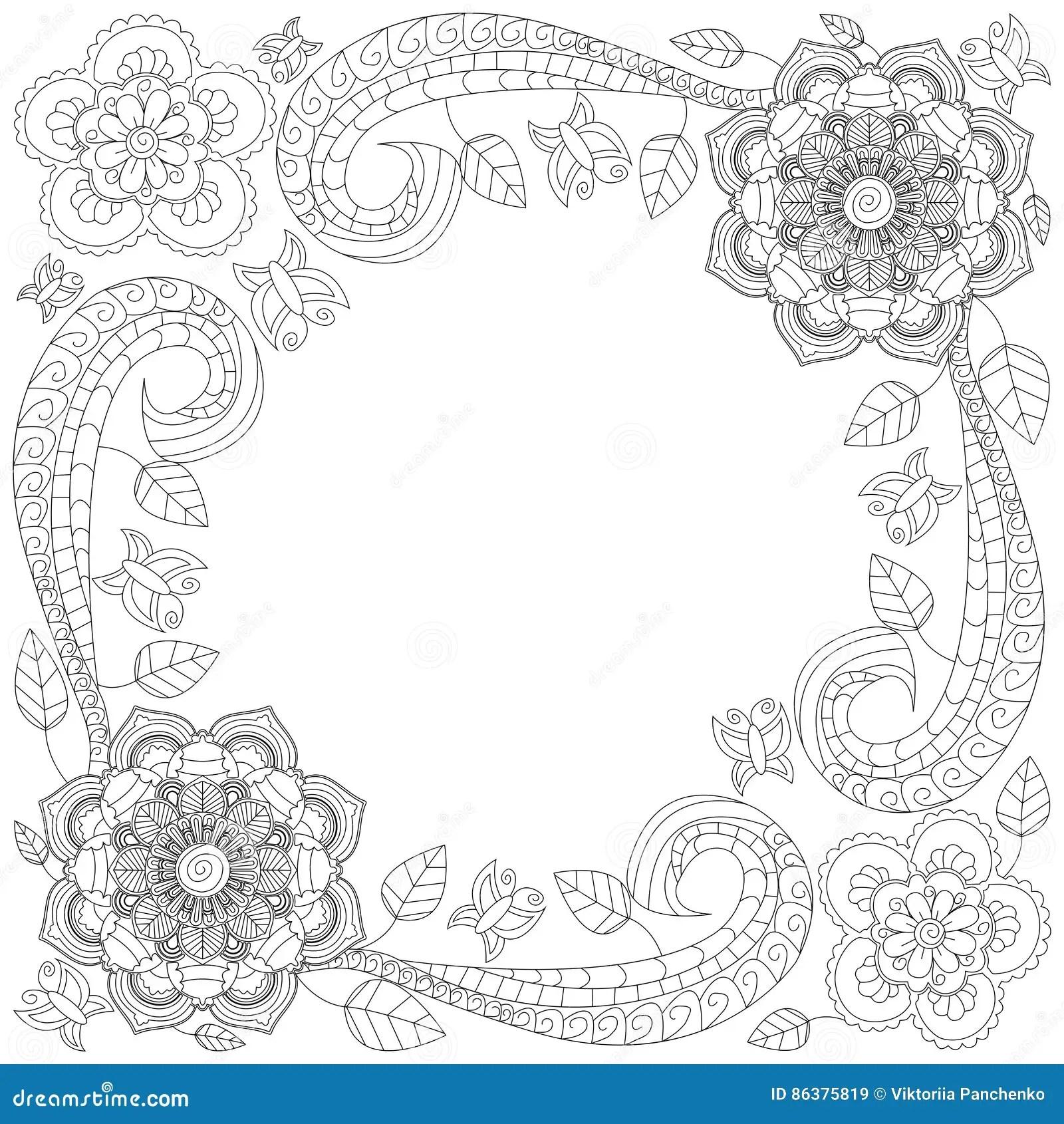 Flower Frame Coloring Book Vector Illustration Stock