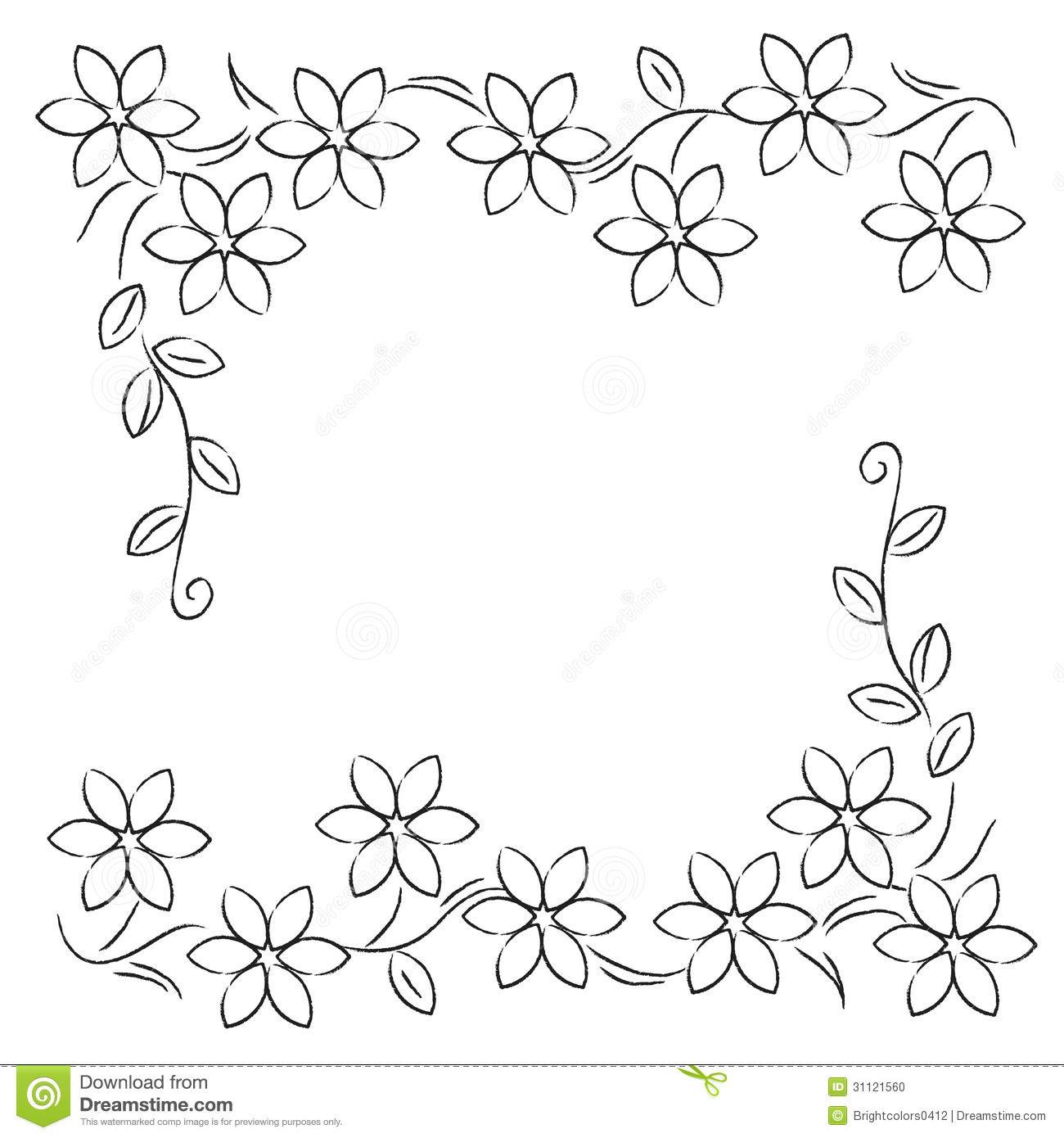 Flower Line Border Black White Stock Illustration