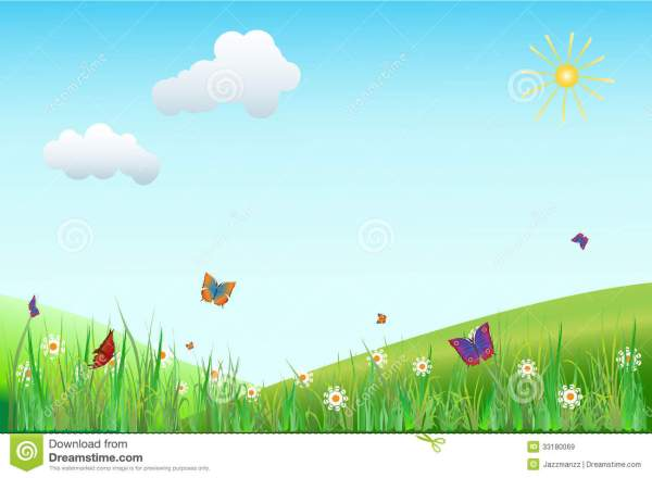 Flower Meadow With Butterflies Stock Vector Illustration