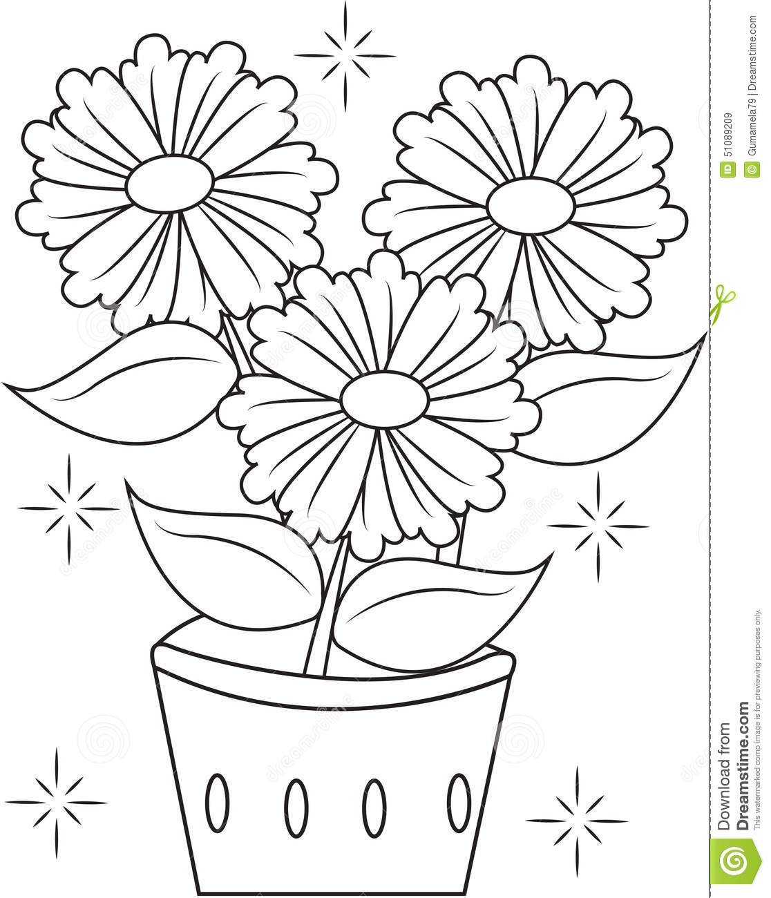 Flower Pot Coloring Page Stock Illustration
