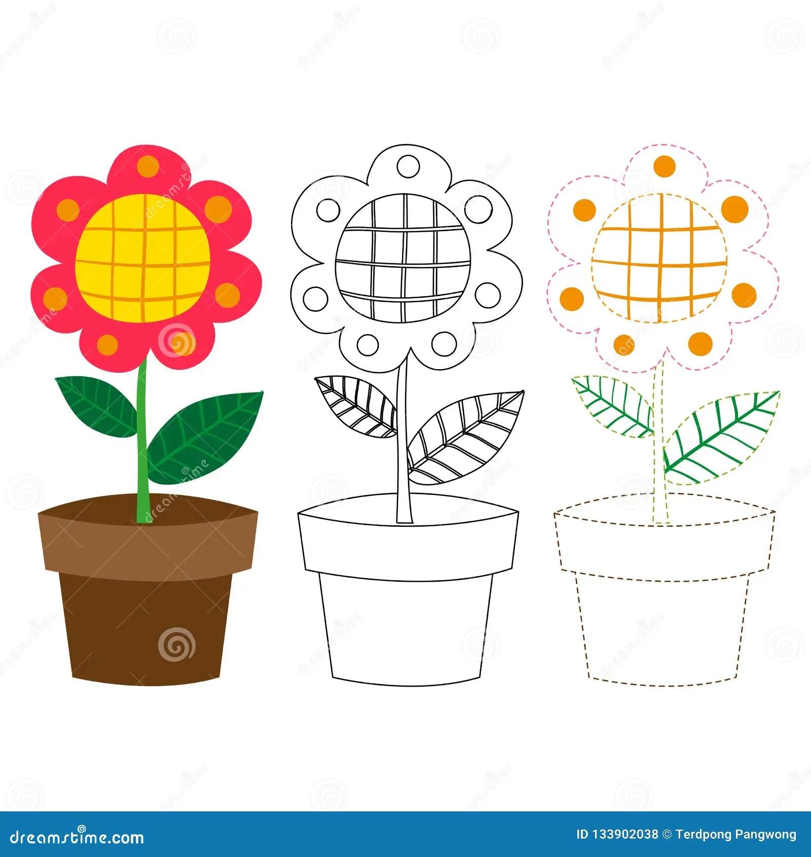 Flower Worksheet Vector Design Stock Vector