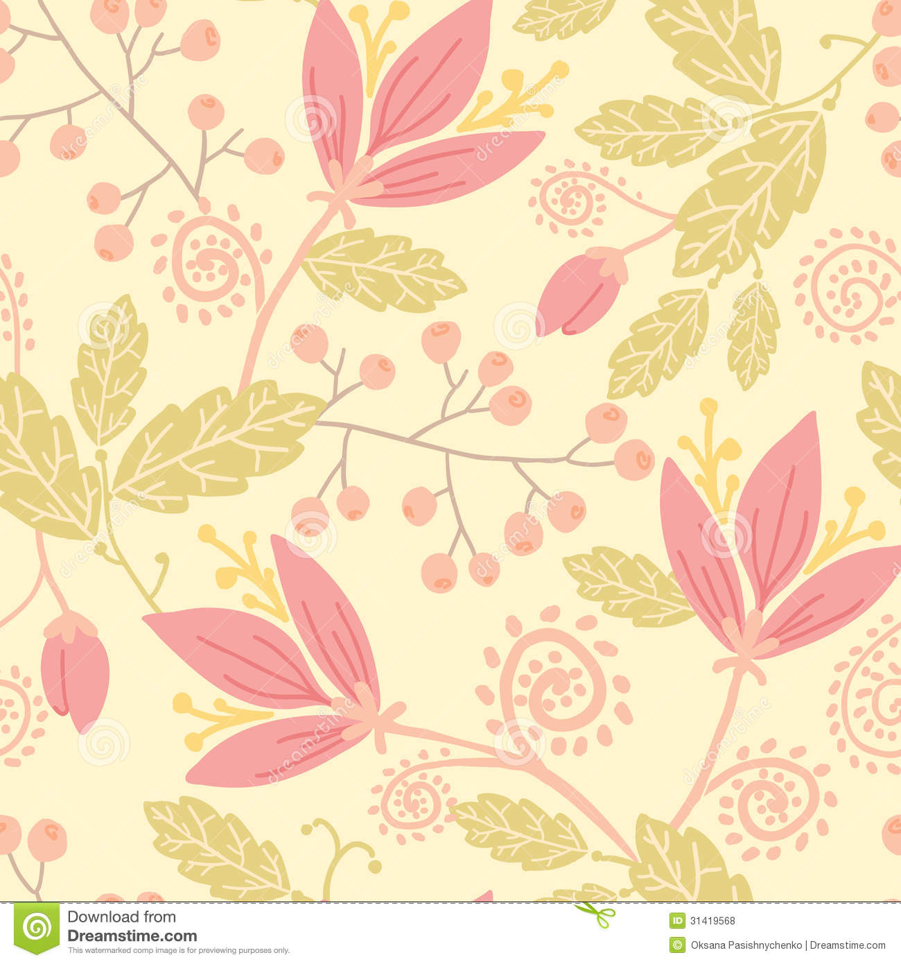 Flowers And Berries Seamless Pattern Background Royalty