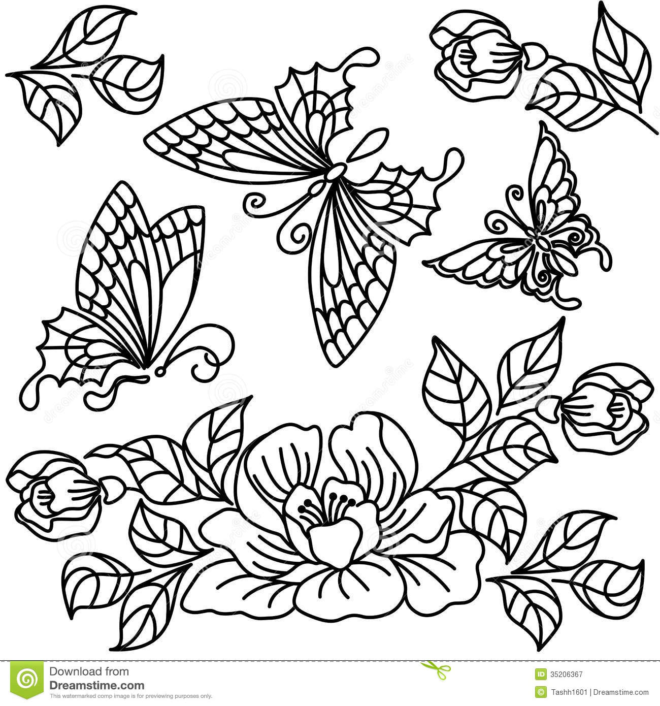 Flowers And Butterfly Stock Illustration Illustration Of