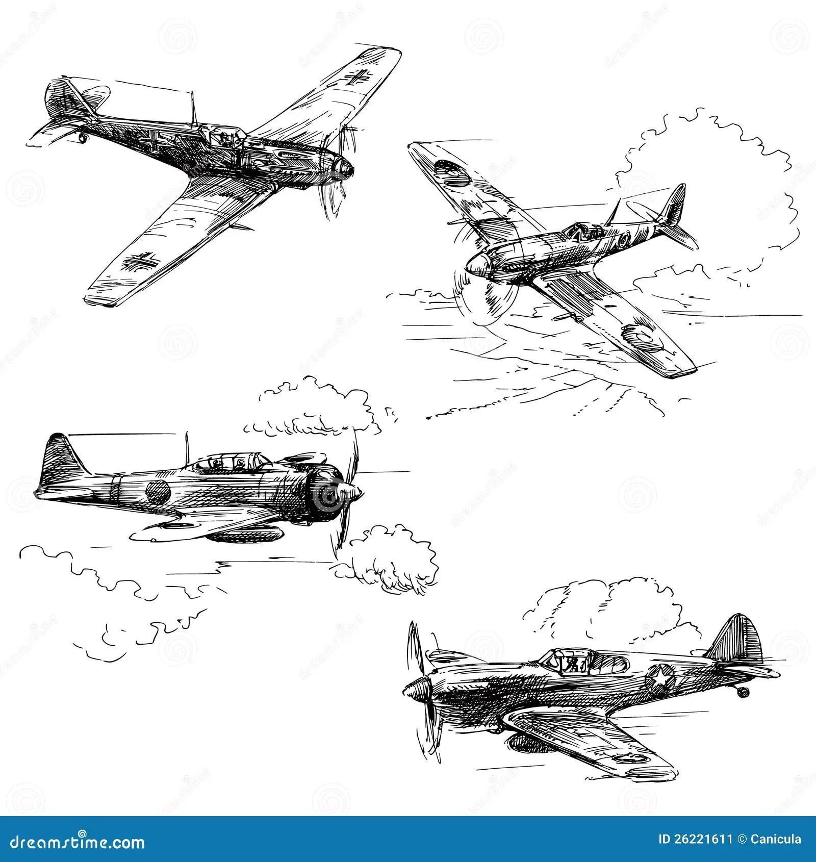 Flugzeuge Des Weltkriegs 2 Vektor Abbildung Illustration