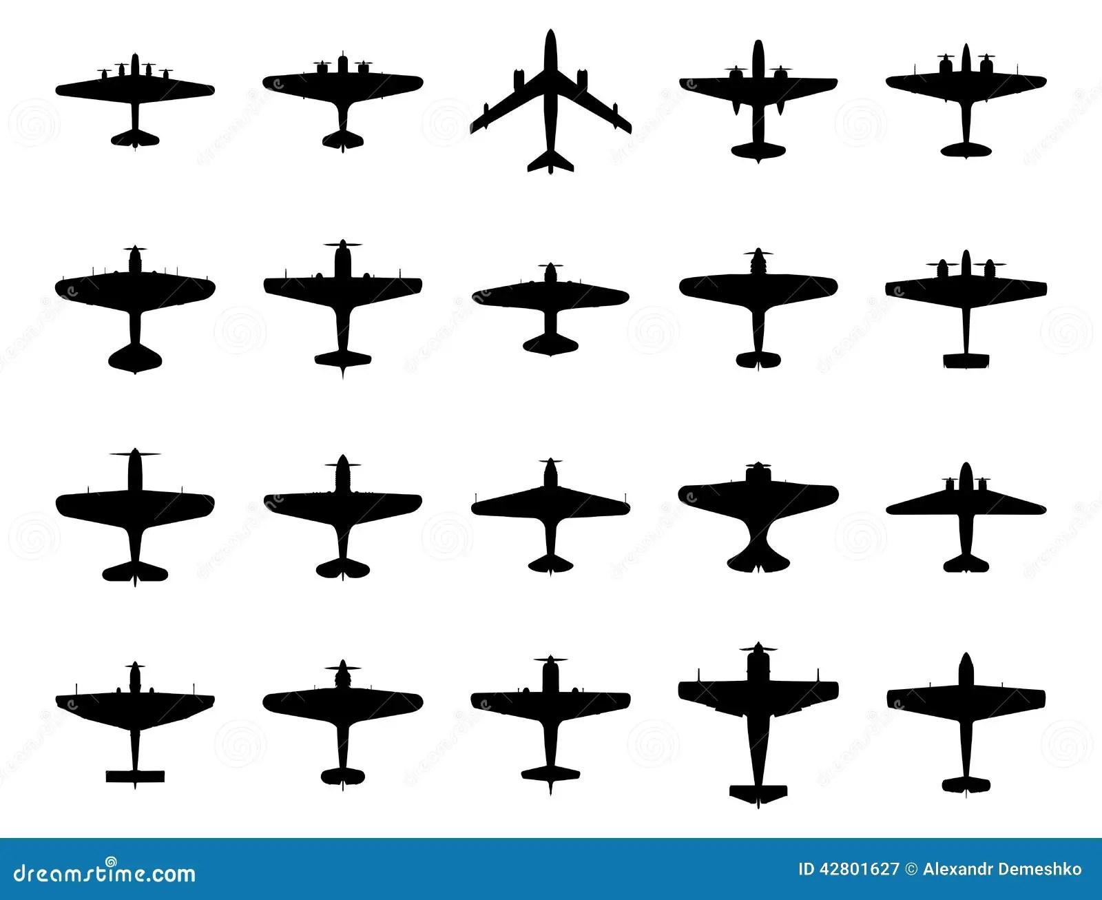 Flugzeuge Silhouettieren Satz Vektor Abbildung