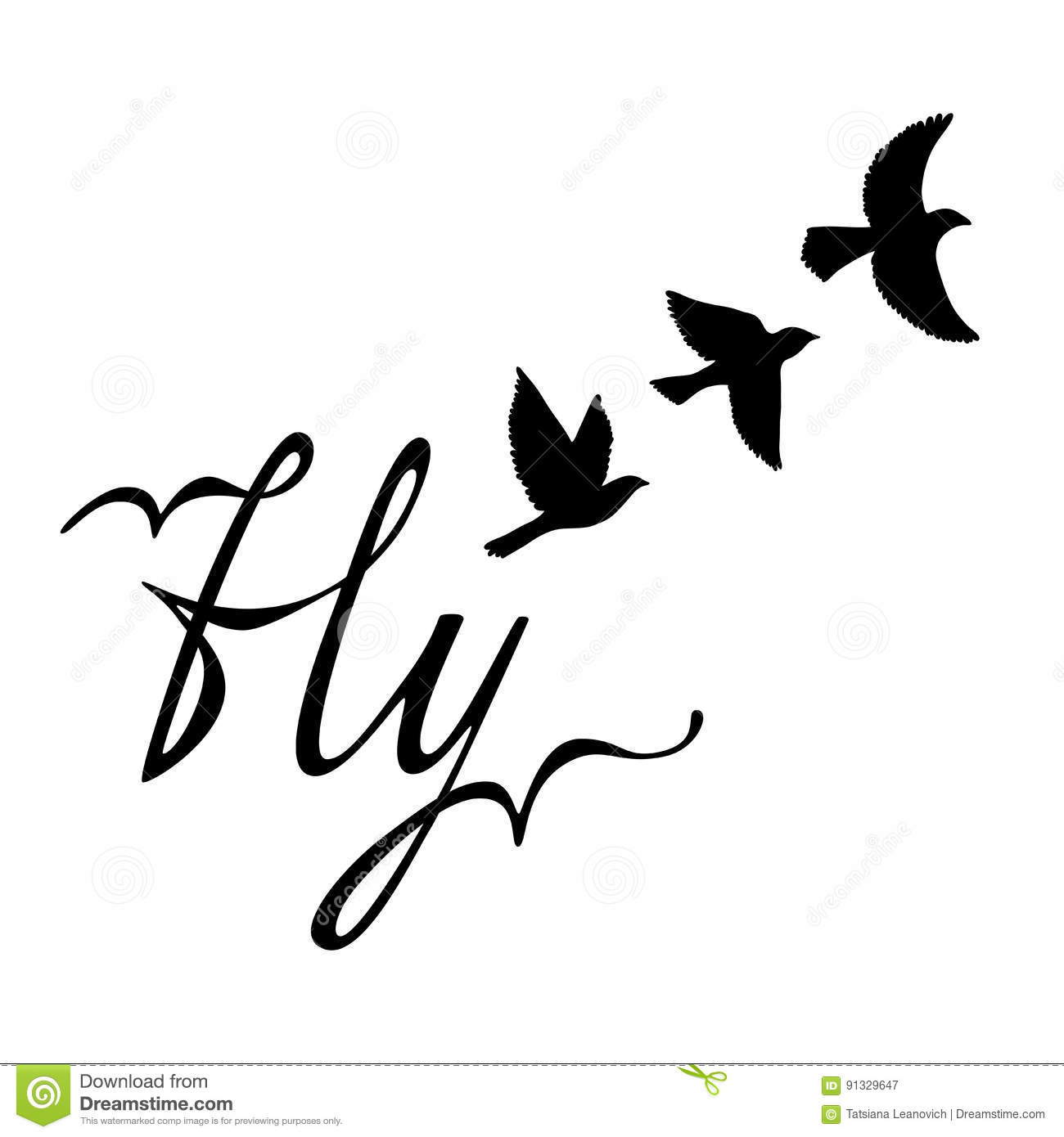 Fly Inspirational Quote About Happy Modern Calligraphy