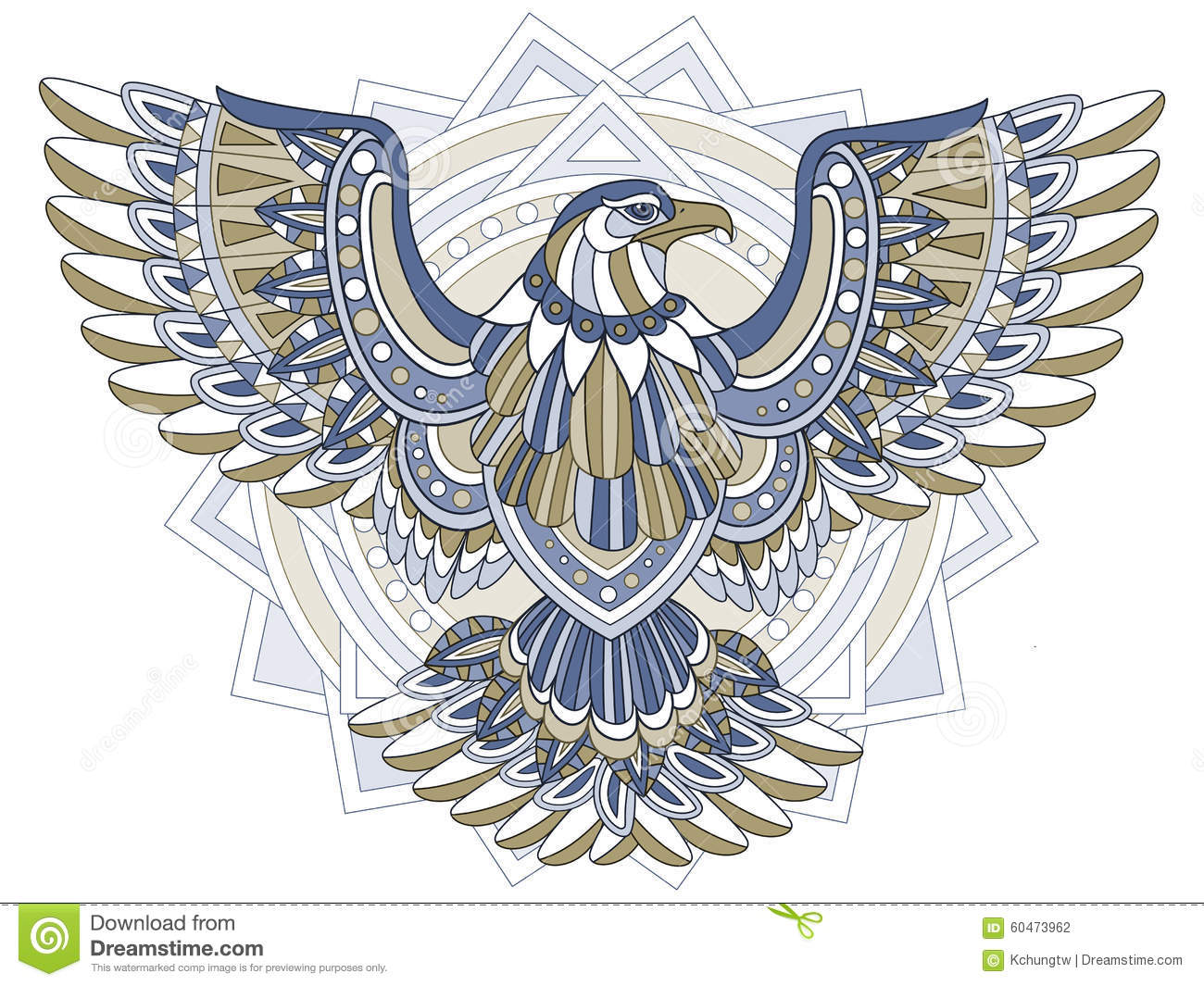 Flying Eagle Stock Illustration Illustration Of Doodle