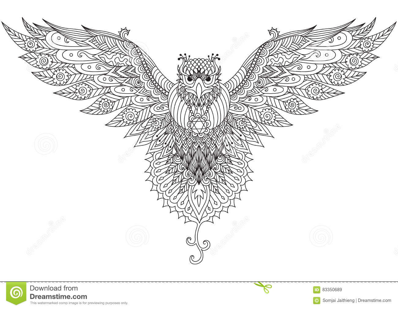 Flying Falcon Zendoodle Design For T Shirt Graphic Tattoo