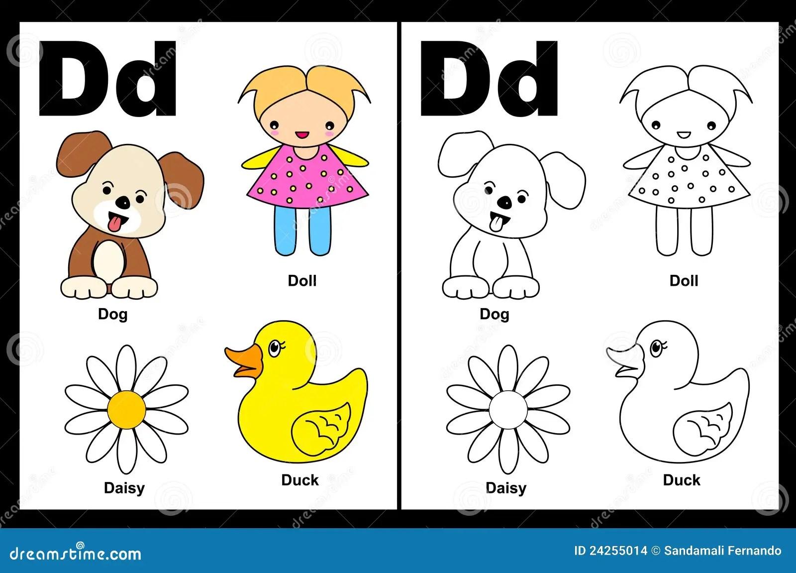 Folha Da Letra D Ilustracao Do Vetor Ilustracao De Pato