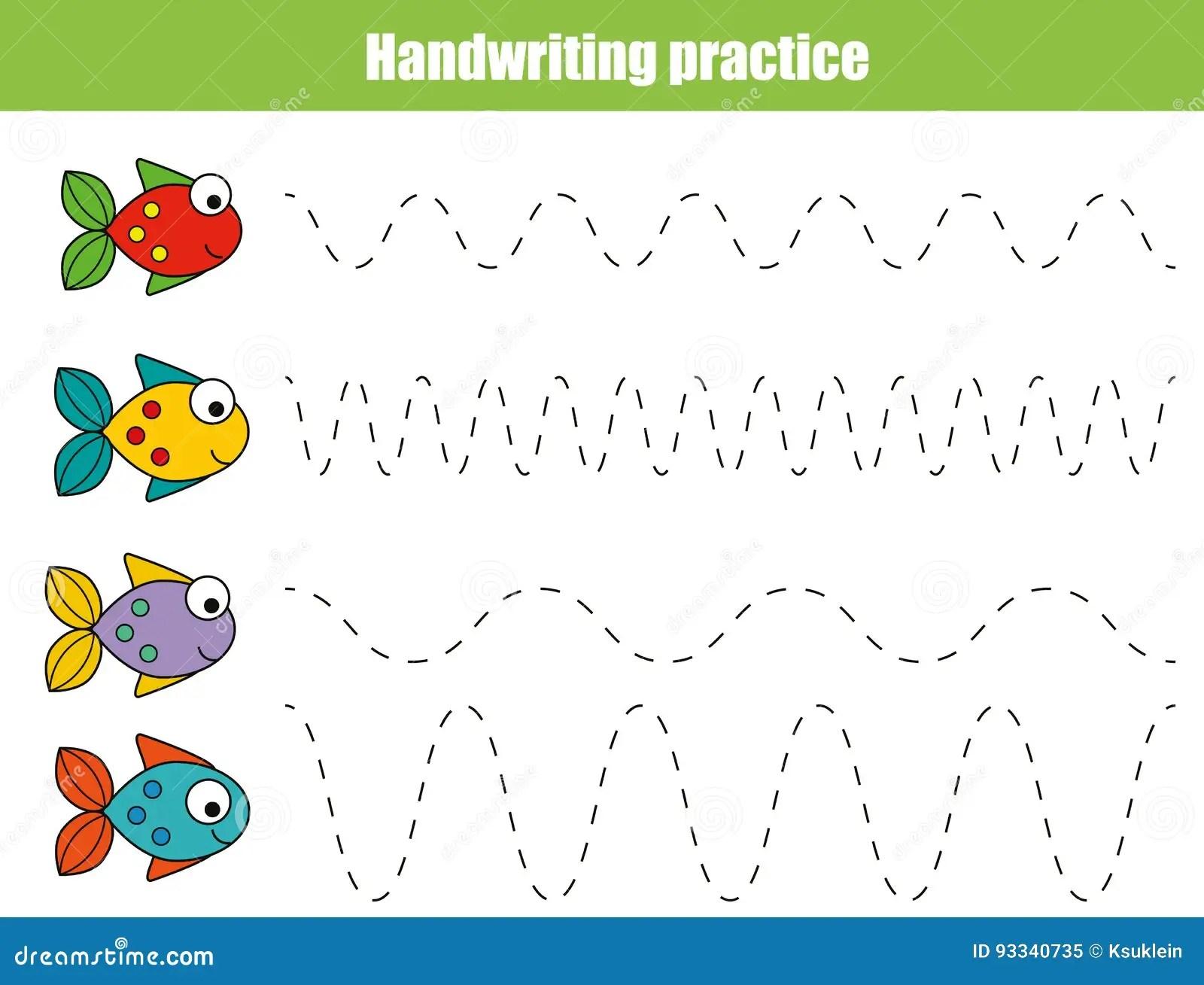 Folha Da Pratica Da Escrita Jogo Educacional Das Criancas