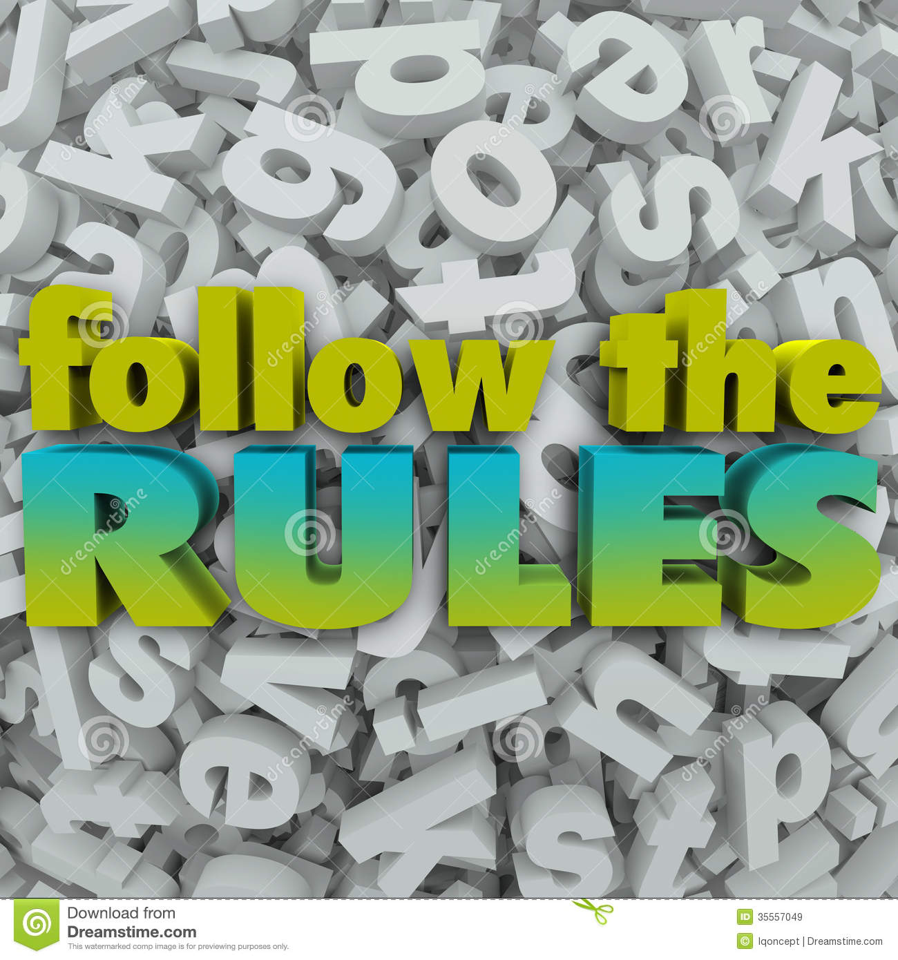 Follow The Rules Letter Background 3d Regulations