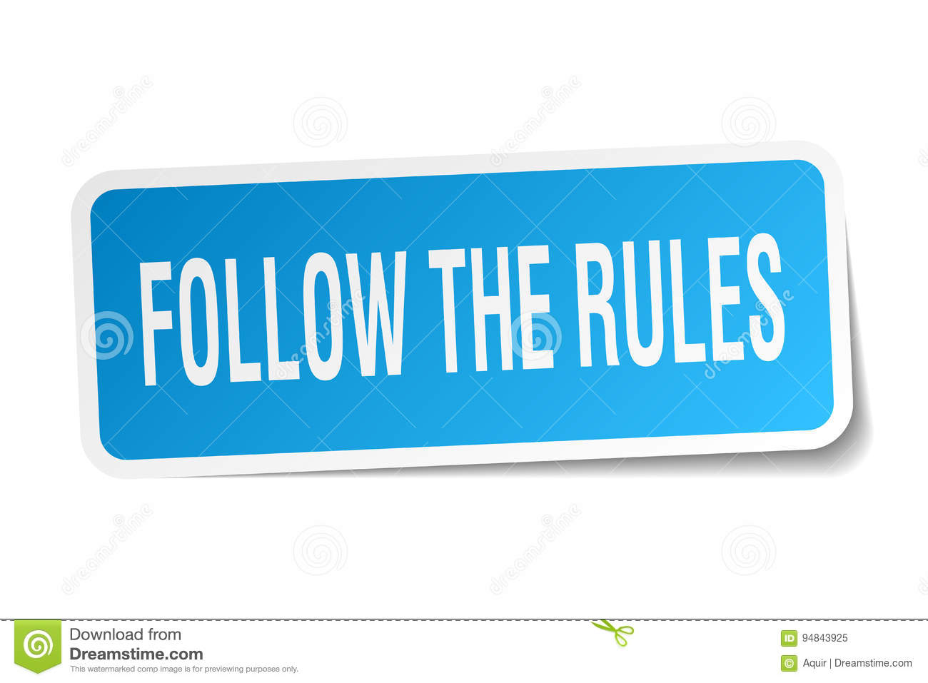 Follow The Rules Square Sticker Stock Vector