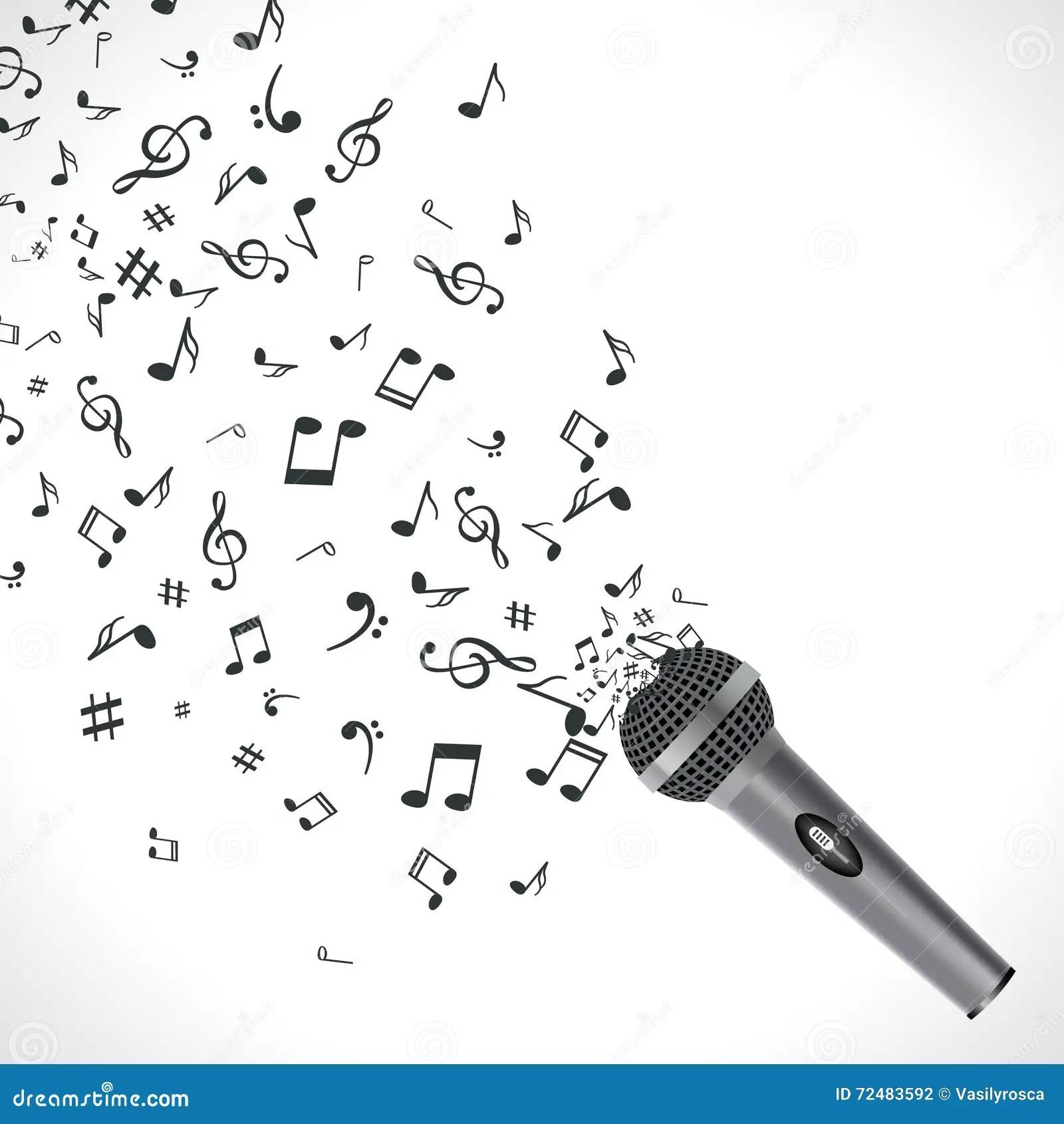 Fond Abstrait De Musique Avec Les Notes Et Le Microphone