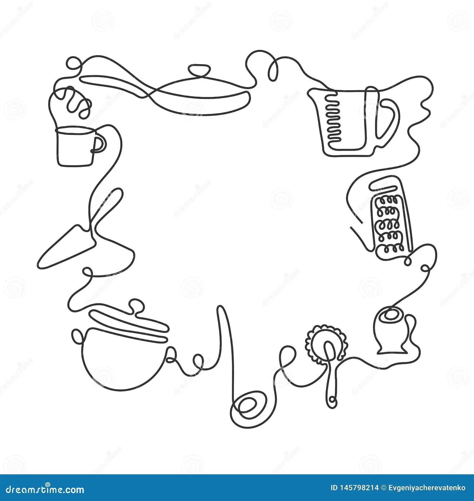 https fr dreamstime com fond couverts sch ma dessin trait diff rents ustensiles cuisine vecteur illustration image145798214