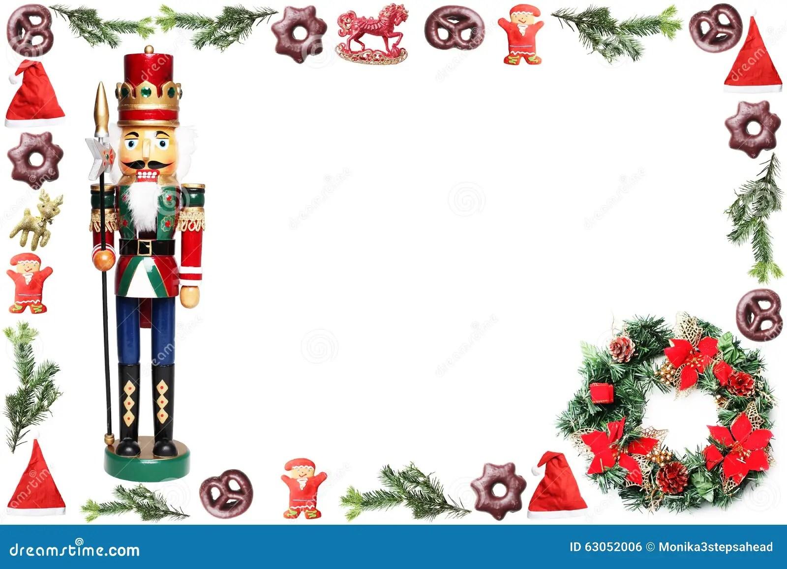 Fondo De Navidad Con El Cascanueces Foto De Archivo
