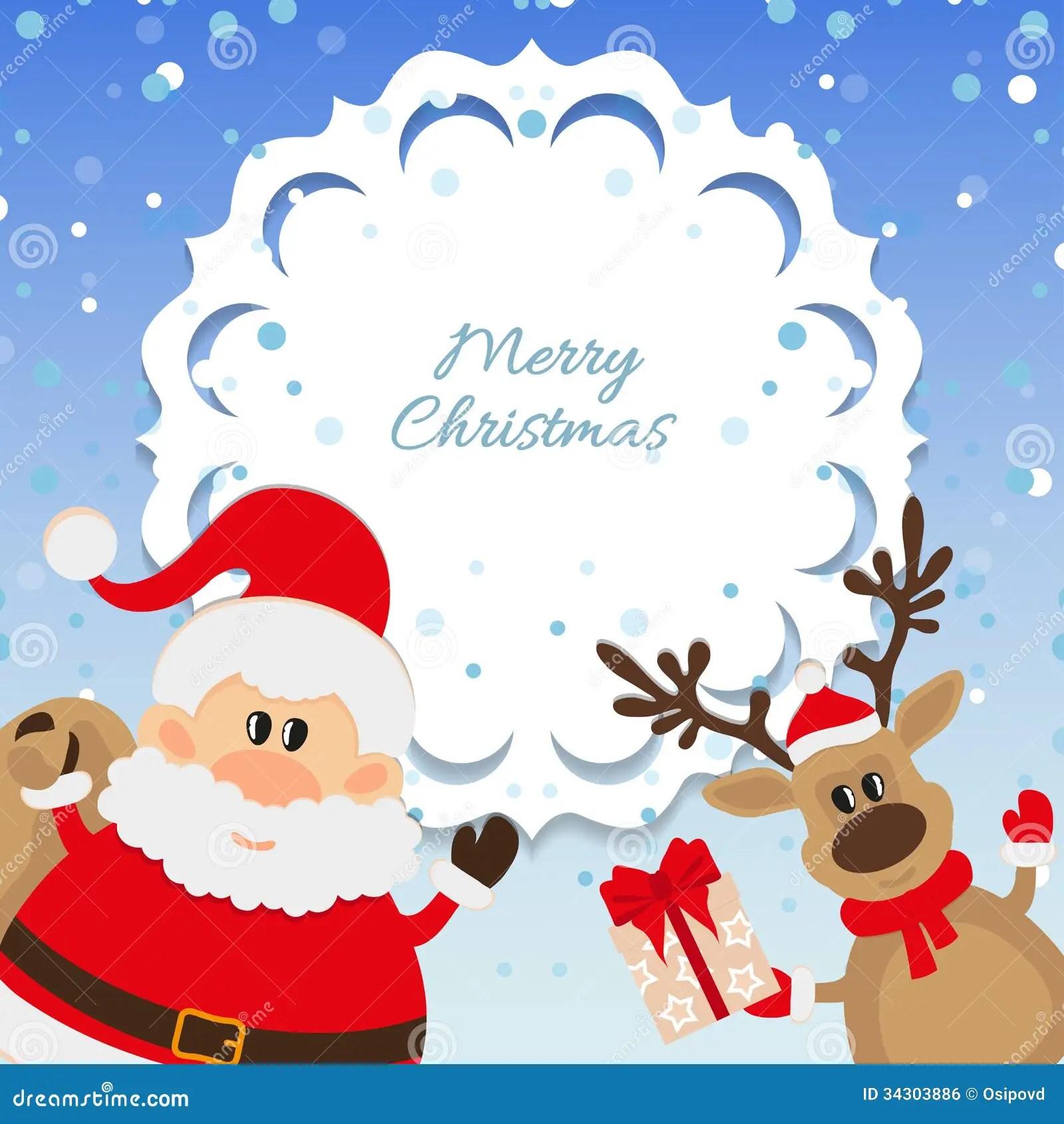 Fondo De Santa Claus Y Del Reno Para La Navidad Imagen De