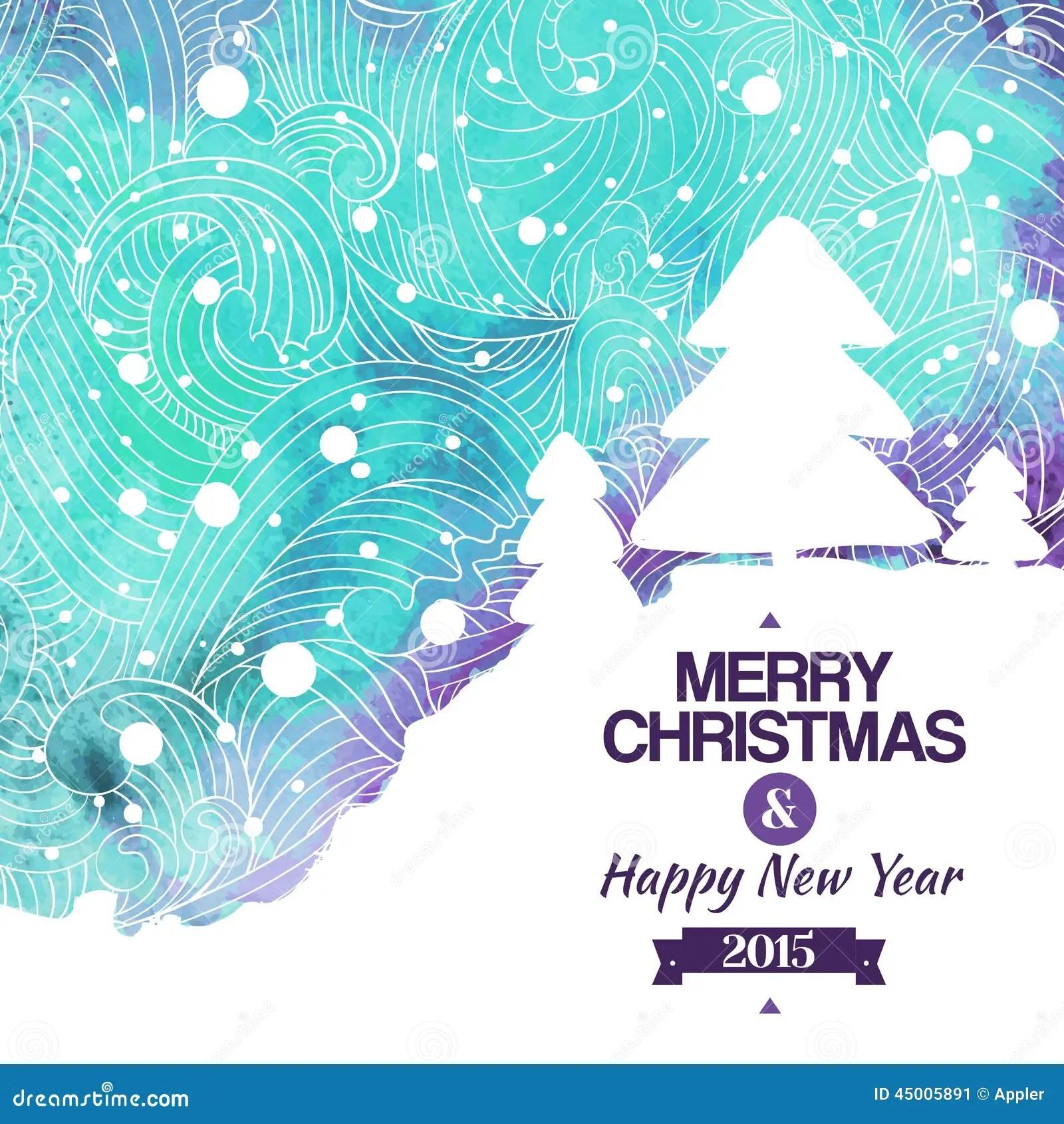 Fondo Del Dibujo De La Acuarela De La Feliz Navidad