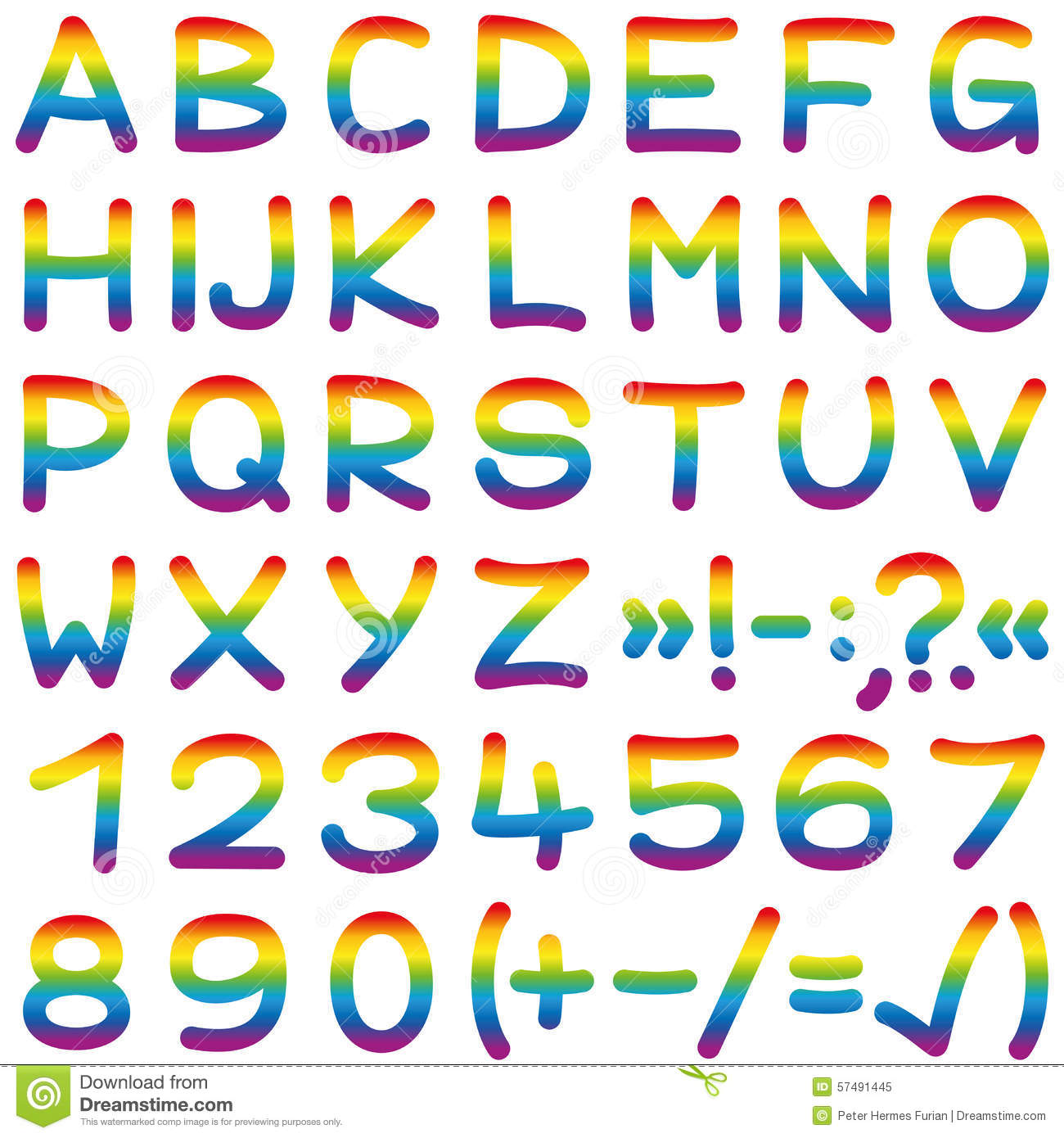Font Rainbow Colors Alphabet Letters Stock Vector