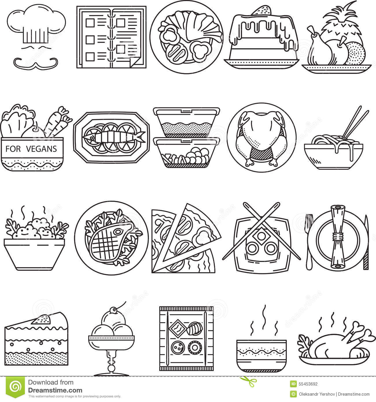Food Black Line Icons Stock Illustration Illustration Of