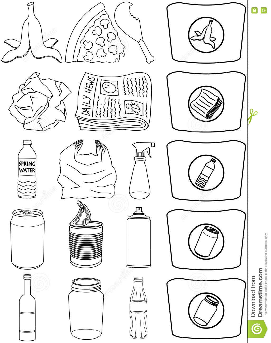 Food Bottles Cans Paper Trash Recycle Pack Lineart Stock